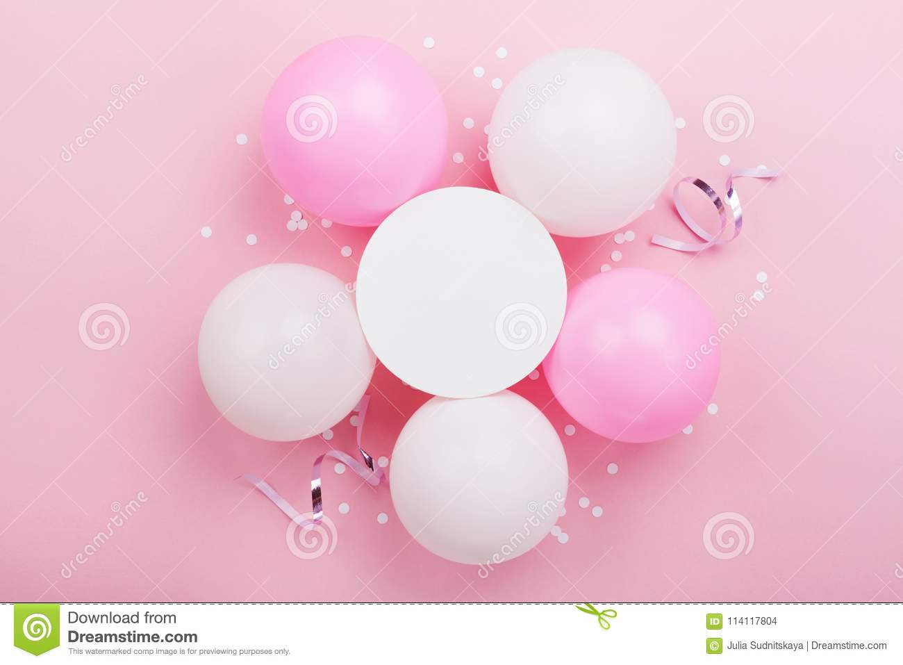 Birthday mockup with white paper list, confetti and pastel balloons on pink table top view. Flat lay composition.