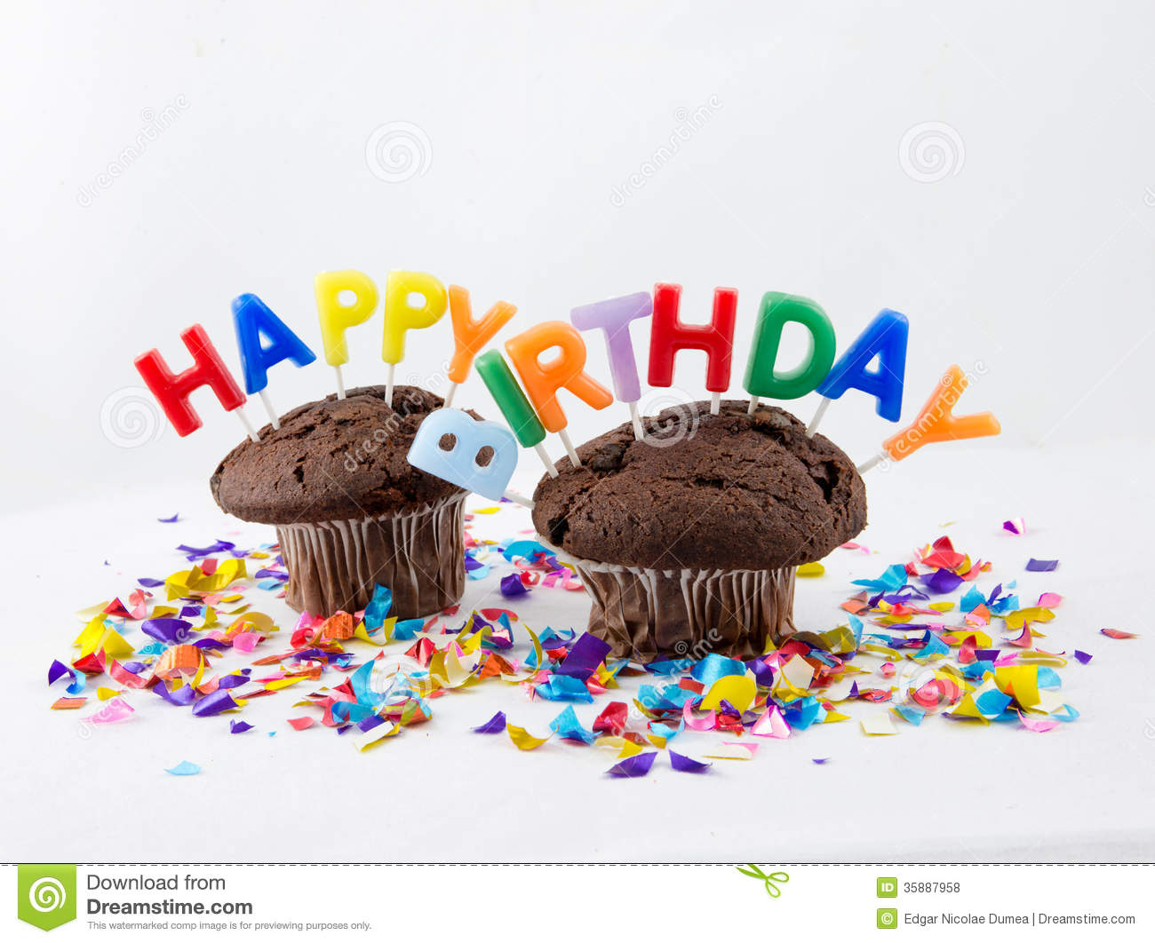 birthday muffins stock photo image of chocolate muffins 35887958. Black Bedroom Furniture Sets. Home Design Ideas