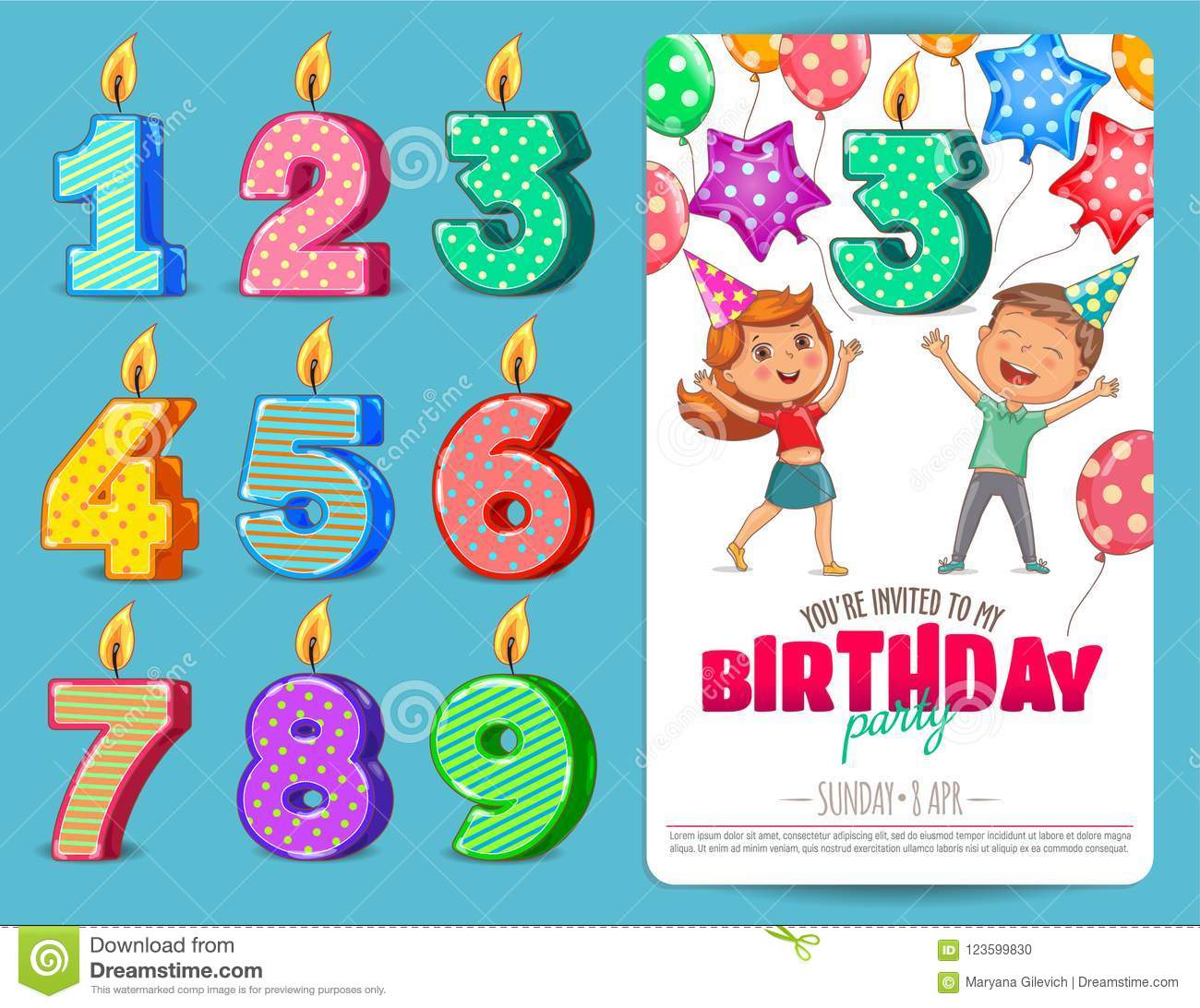 Birthday Numbers Candle With Cute Kids Birthday Party Invitation