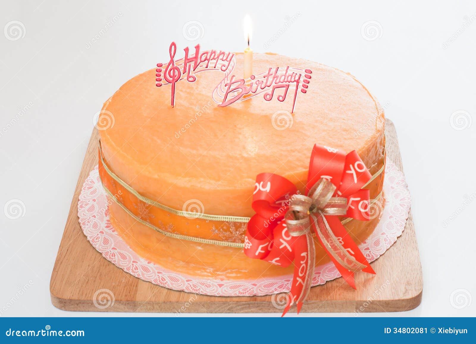 Birthday Orange Cake Stock Image Image 34802081