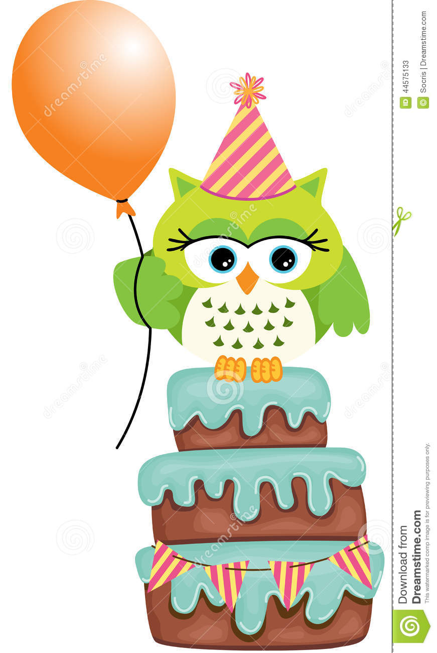 Birthday Owl Cake Stock Vector Image 44575133