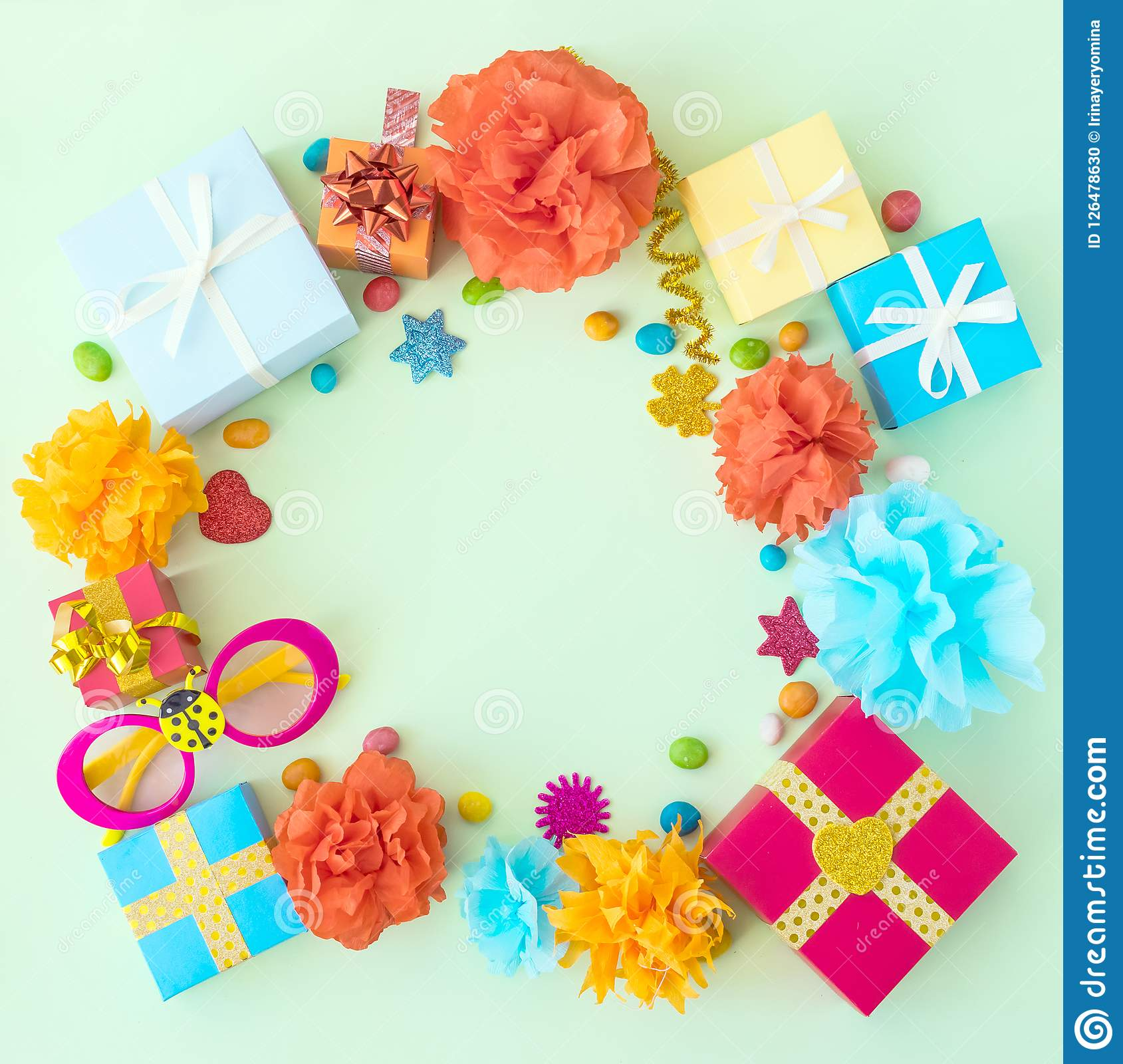 Birthday Party Background With Festive Decor Carnival Glasses