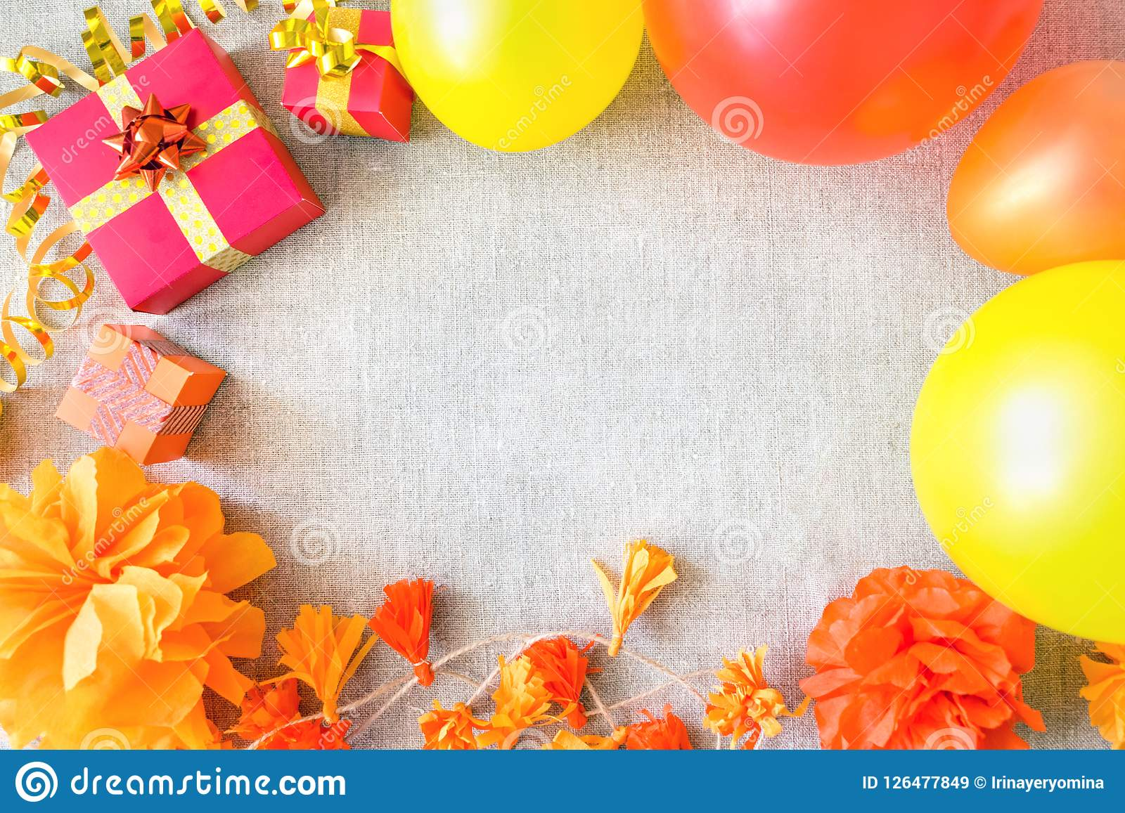 Birthday Party Background With Festive Decor Orange Yellow And