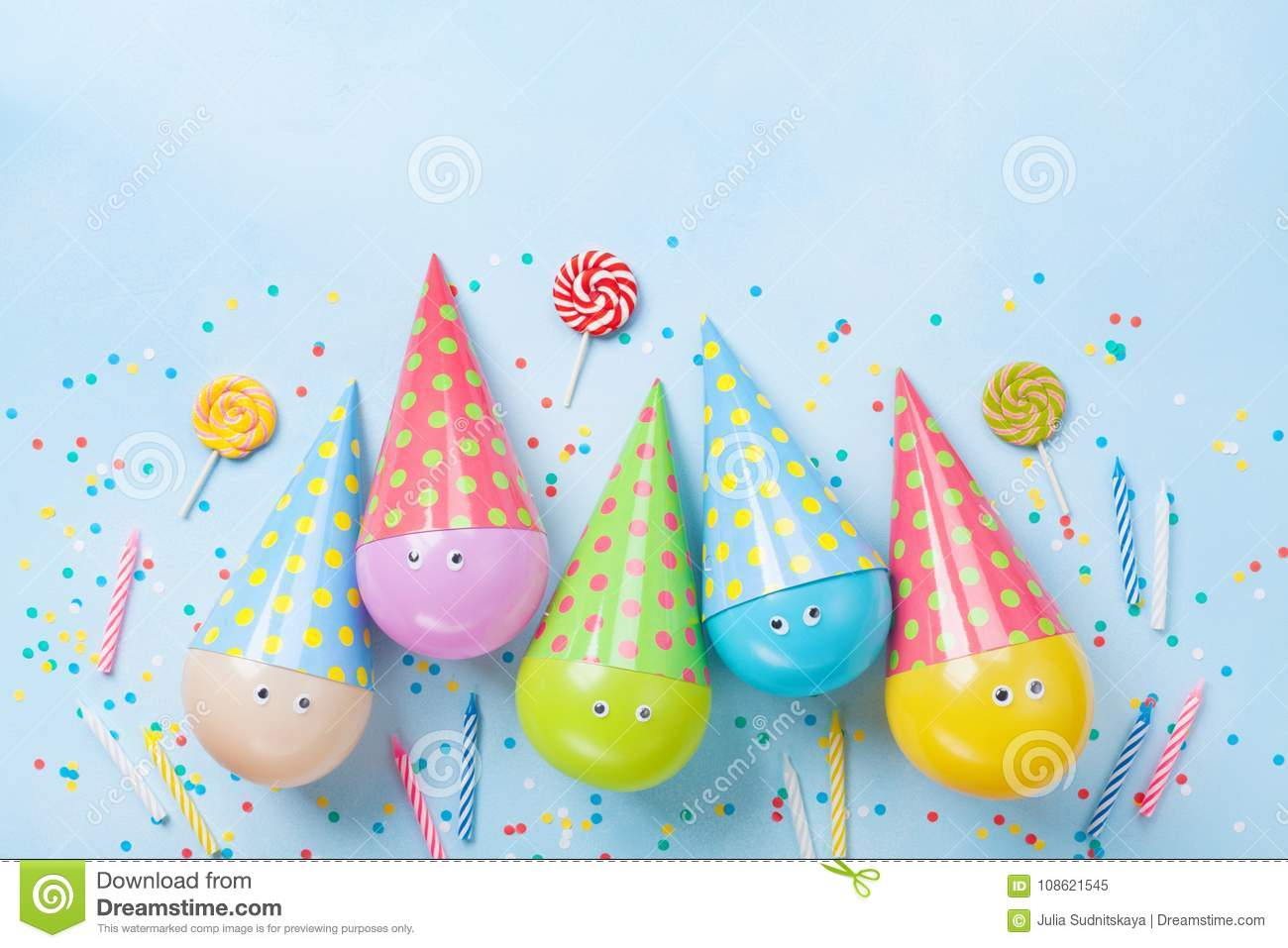 Birthday Or Party Background Funny Balloons Candy And
