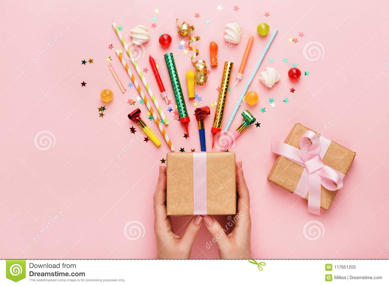 Birthday party background with gift and confetti