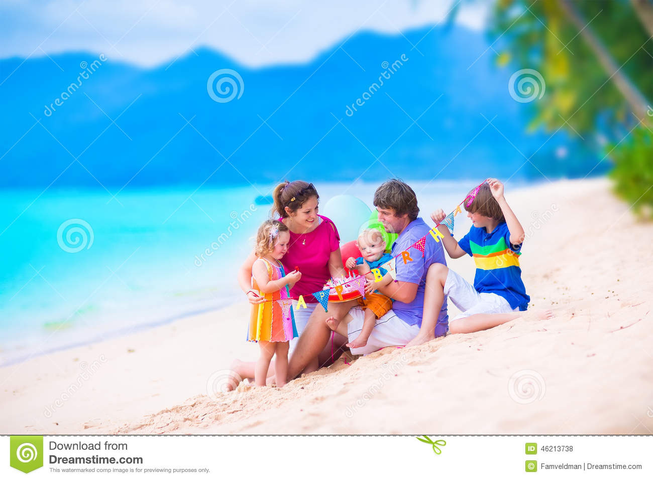 Mother And Baby On Tropical Beach Stock Photo Image 49734834