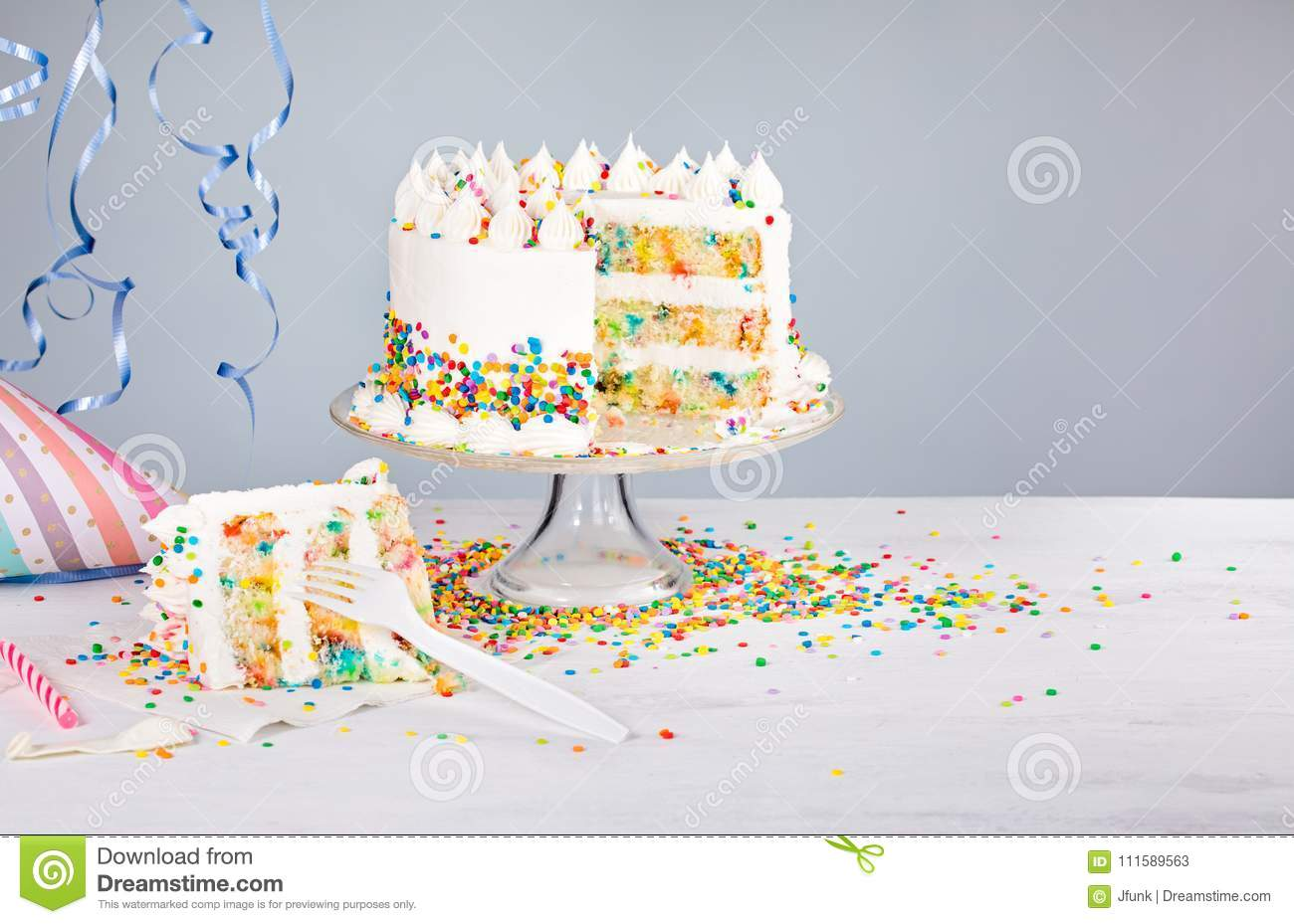 Birthday Party Cake With Sprinkles Stock Image - Image of fork ...