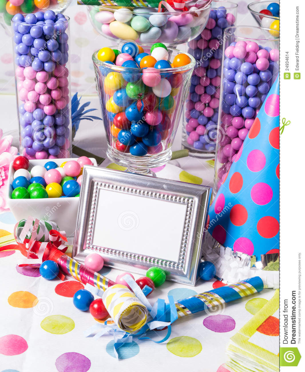 Birthday Party Candy Station Buffet Table Stock Photo