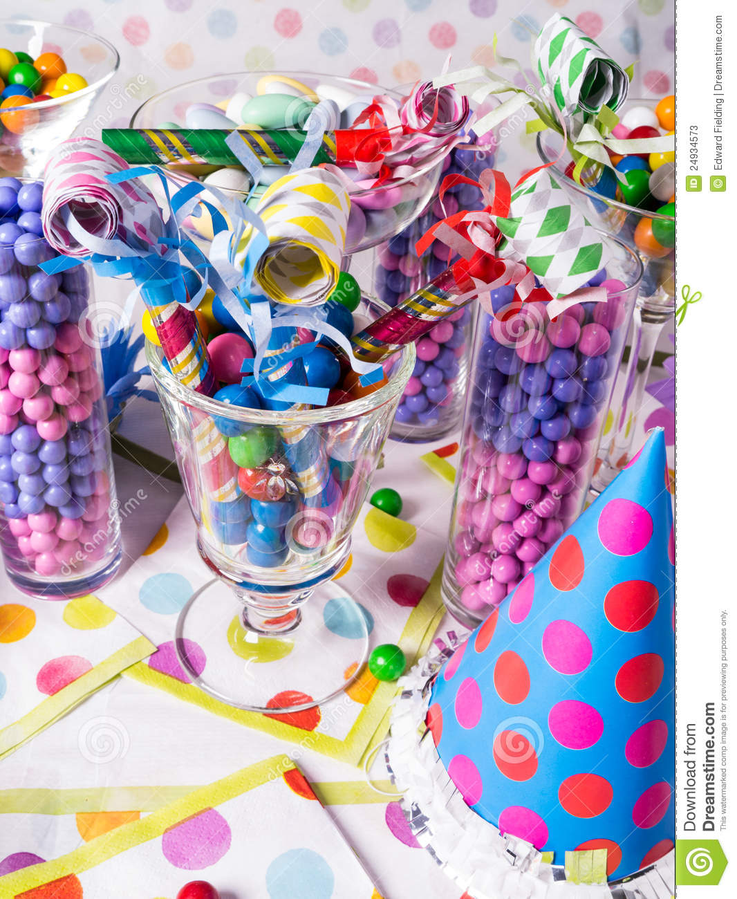 Birthday Party Candy Station With Party Blowers Stock