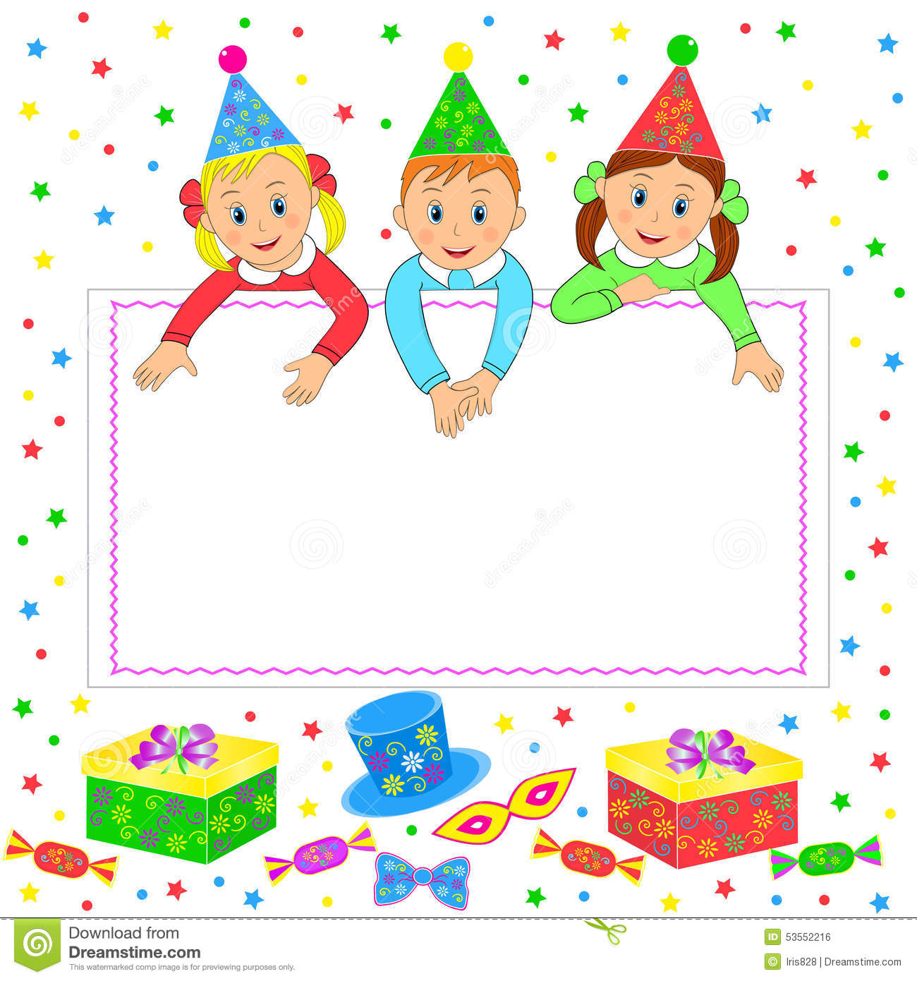 Birthday Party Card Invitation Stock Vector Illustration
