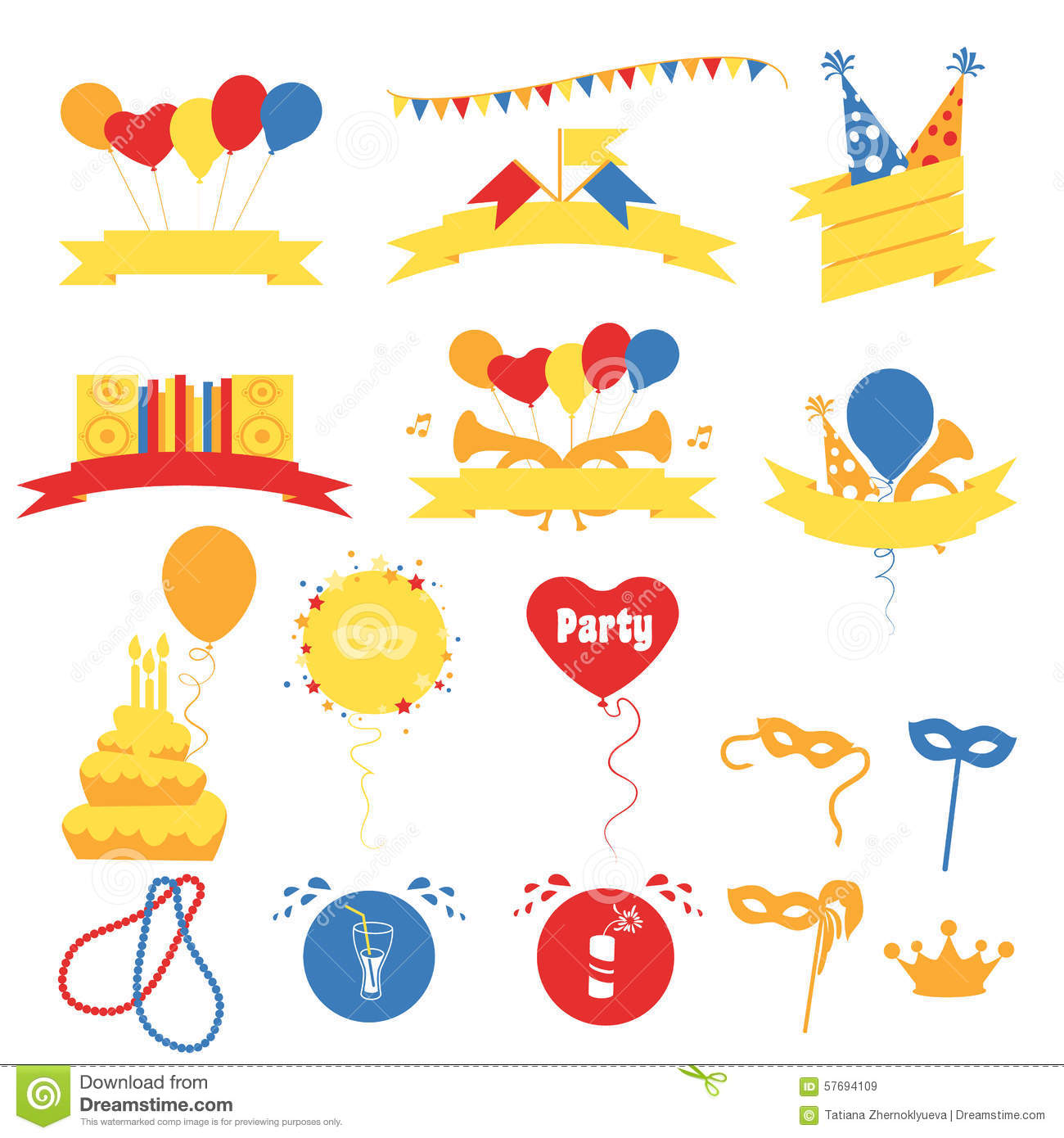 Birthday Party Celebration Banners, Flat Vector