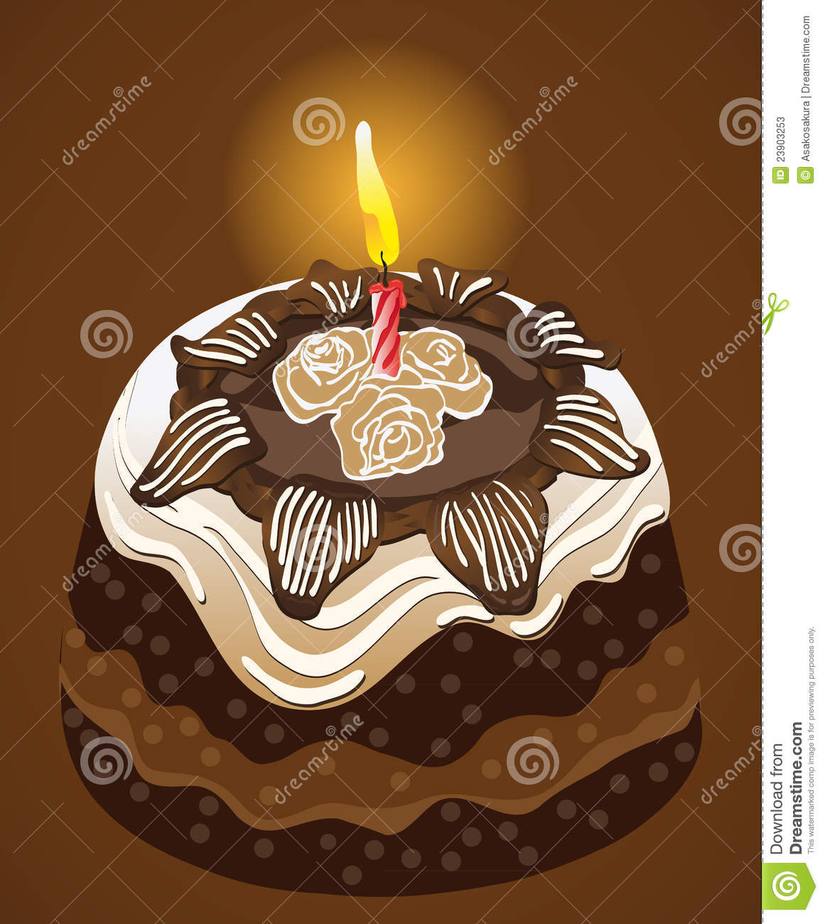 Cake Images In : Birthday Party Chocolate Cake With Candle. Vector Stock ...