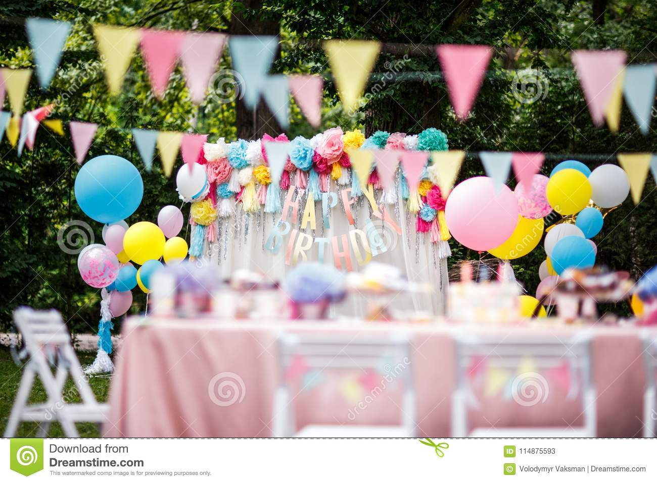 Birthday Party Decor Balloons Stock Image Image Of Park