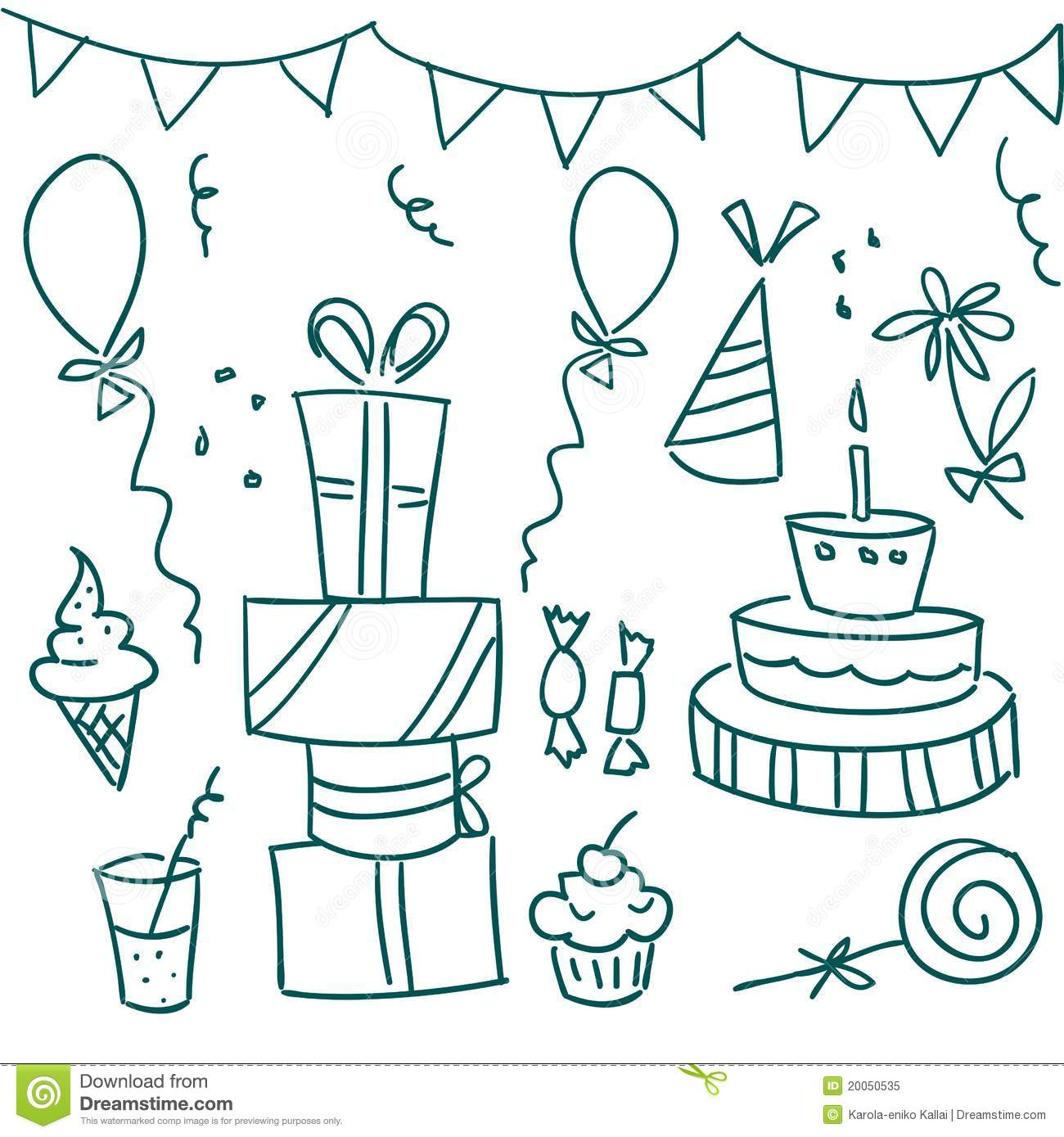 birthday party doodles stock vector illustration of Black and Whiteclipart Cupcake Free Download Cute Cupcake Clip Art