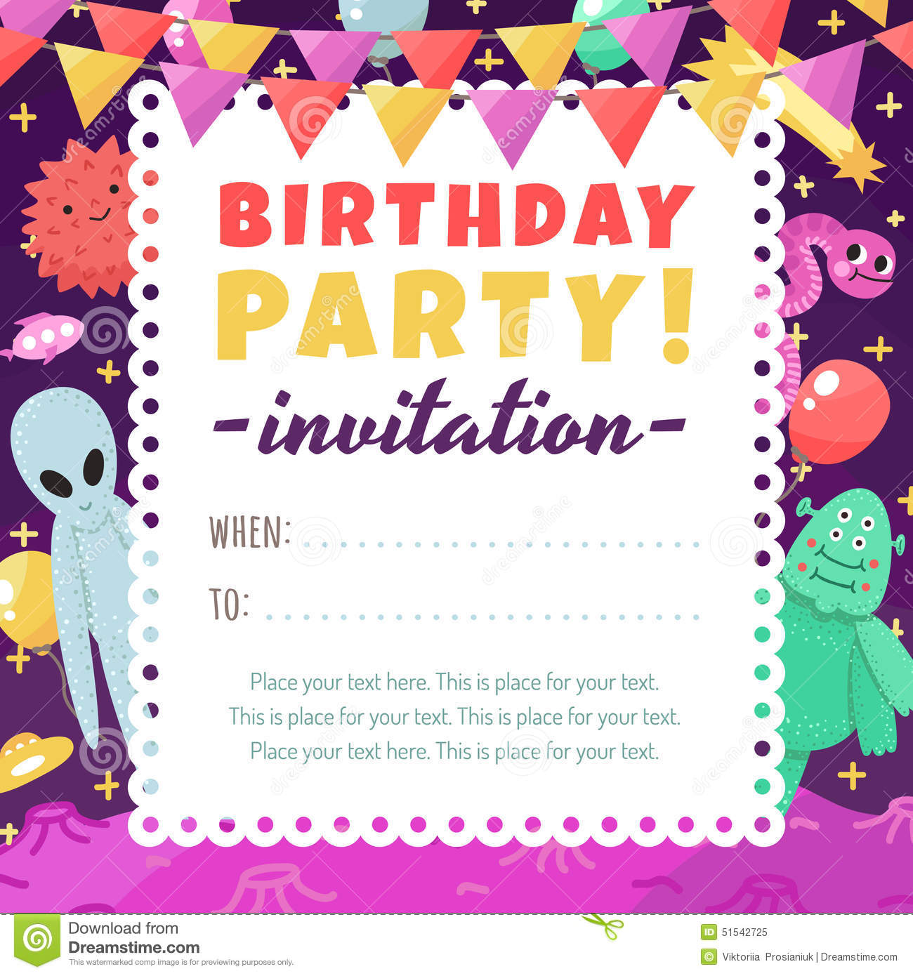 Birthday Party Funny And Cute Space Invitation With ...