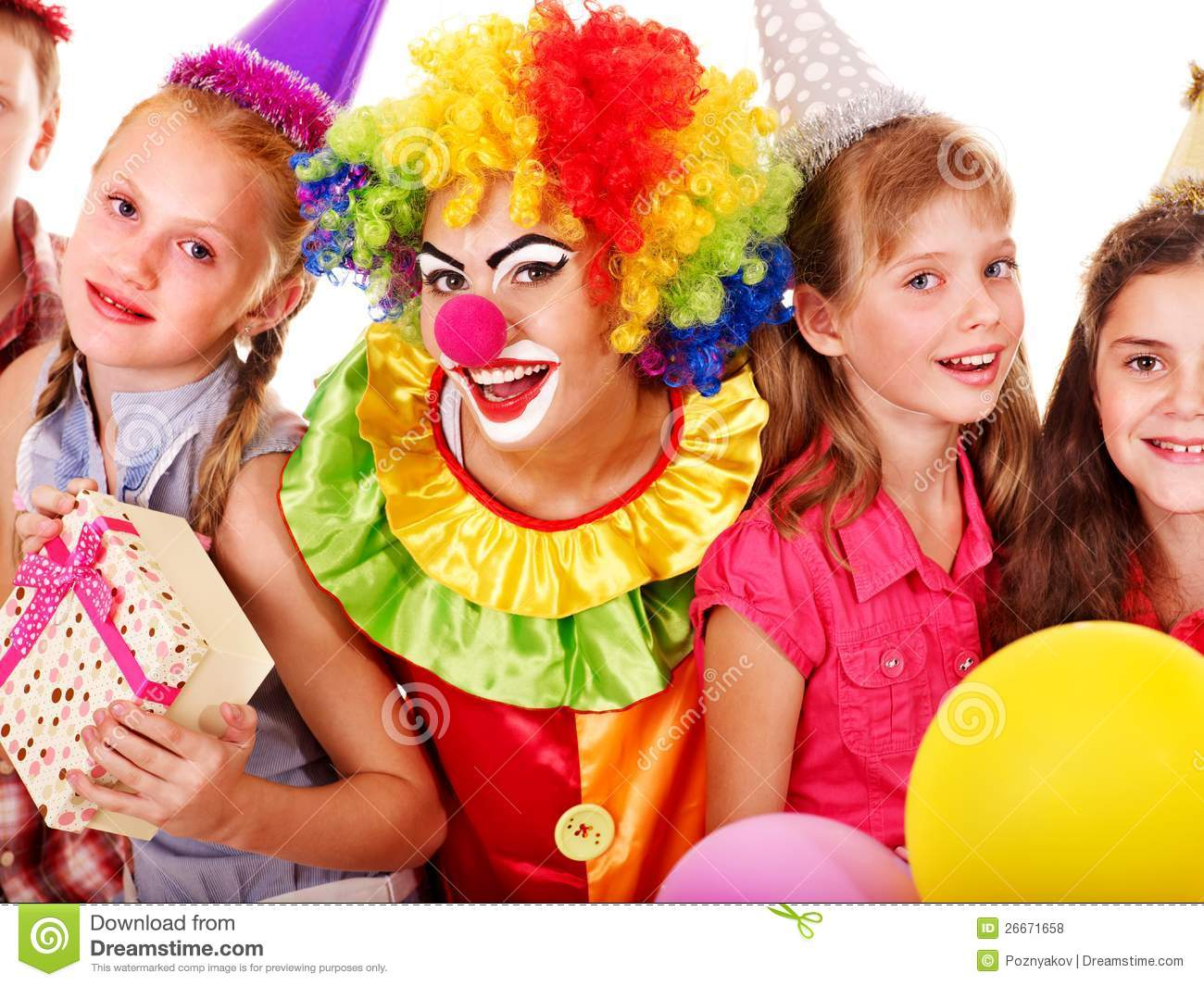 Birthday Party Group Of Teen With Clown Royalty Free