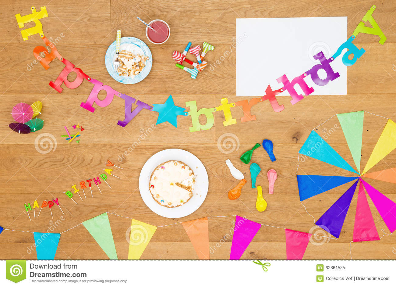 Birthday Party Invitation Background With Copy Space Stock Photo ...
