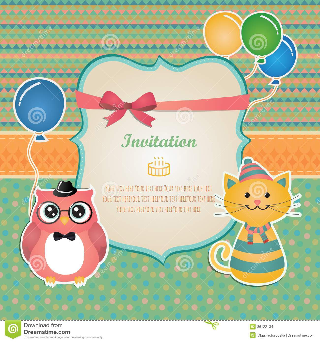 Birthday Party Invitation Card Design Stock Vector