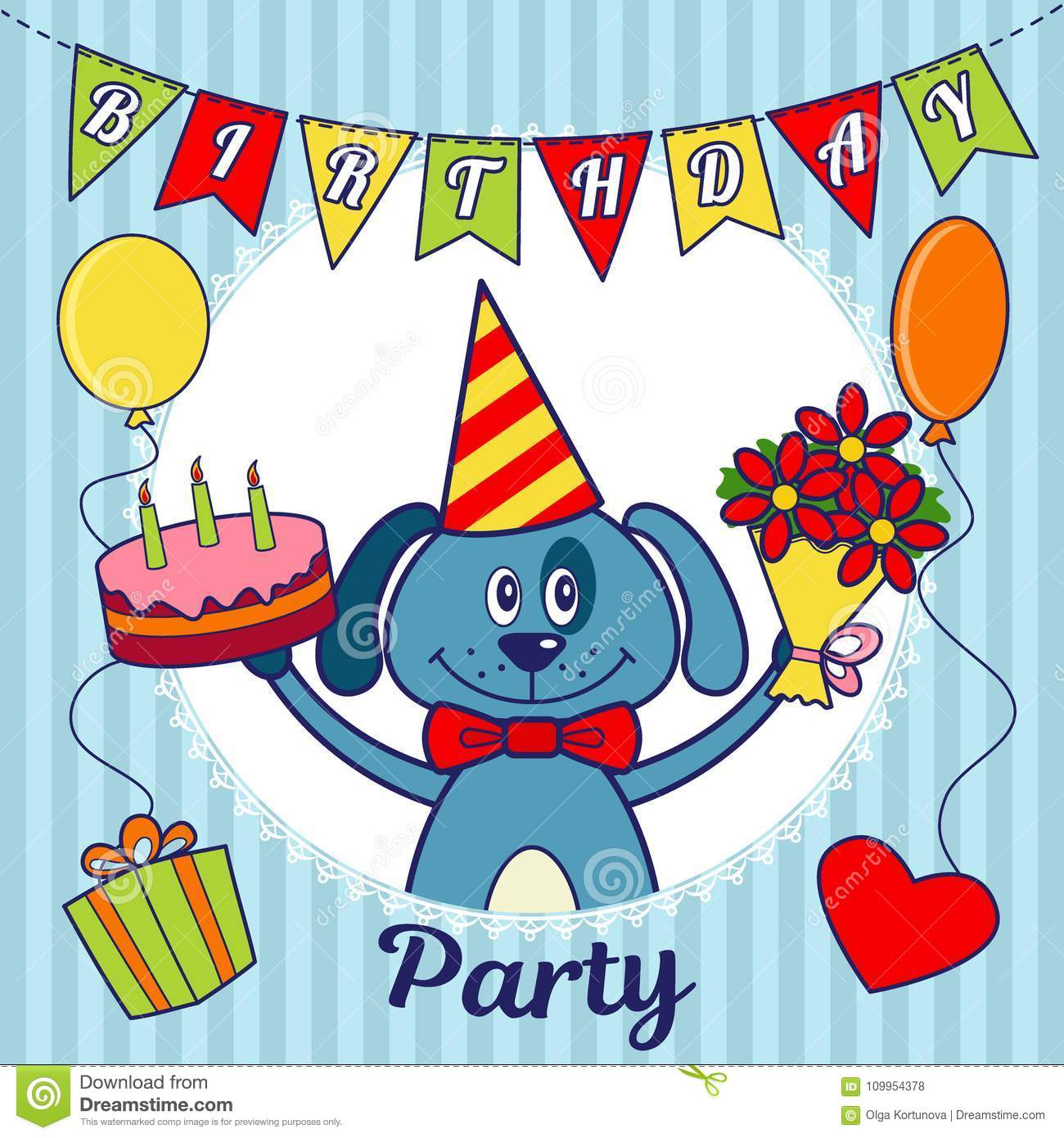 Birthday Party Invitation Card Or Greeting A Cartoon Dog With