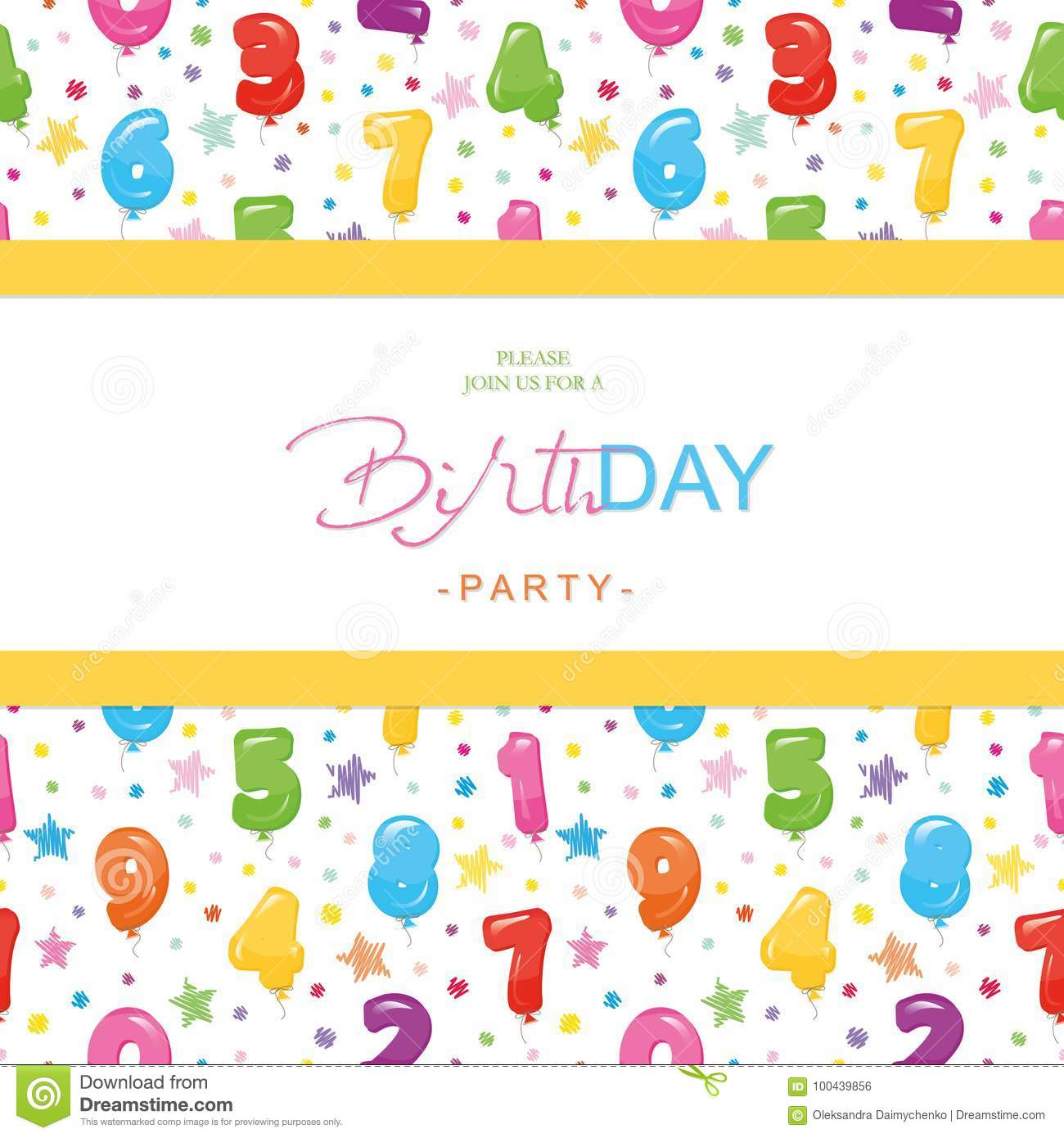 Birthday Party Invitation Card For Kids. Included Seamless Pattern ...