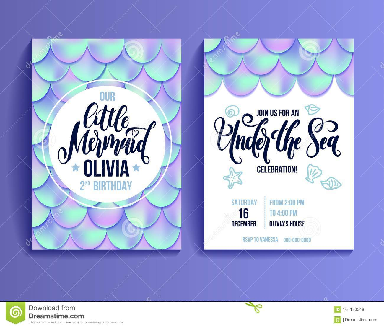 Birthday party invitation card for little girl mermaid holographic download birthday party invitation card for little girl mermaid holographic fish scales and lettering invitation filmwisefo