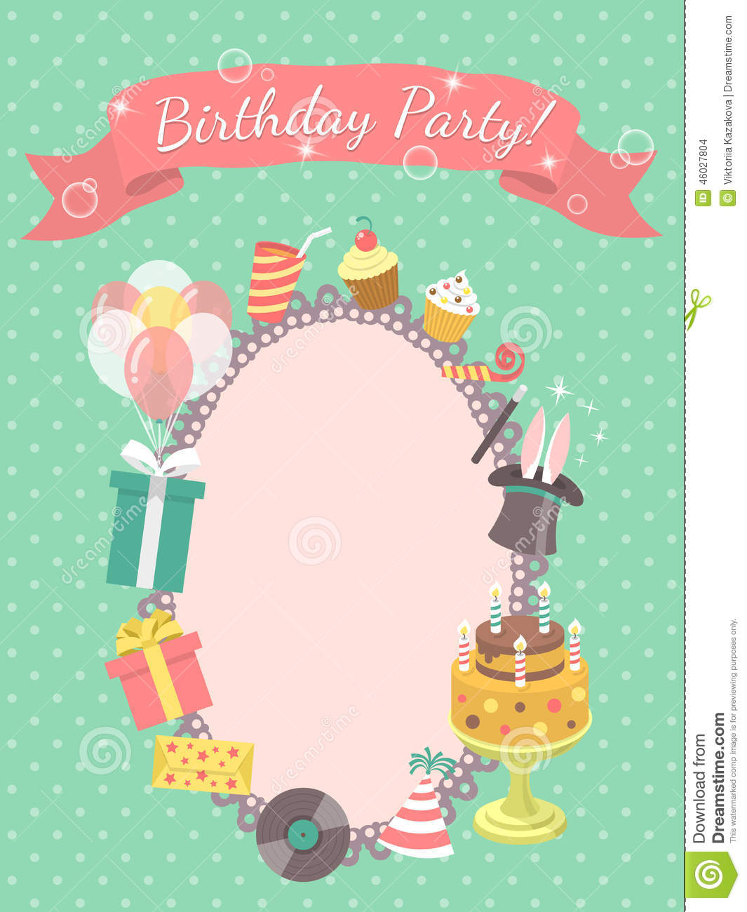 Birthday Party Invitation Card Vector Image 46027804 – Birthday Party Invitation Cards