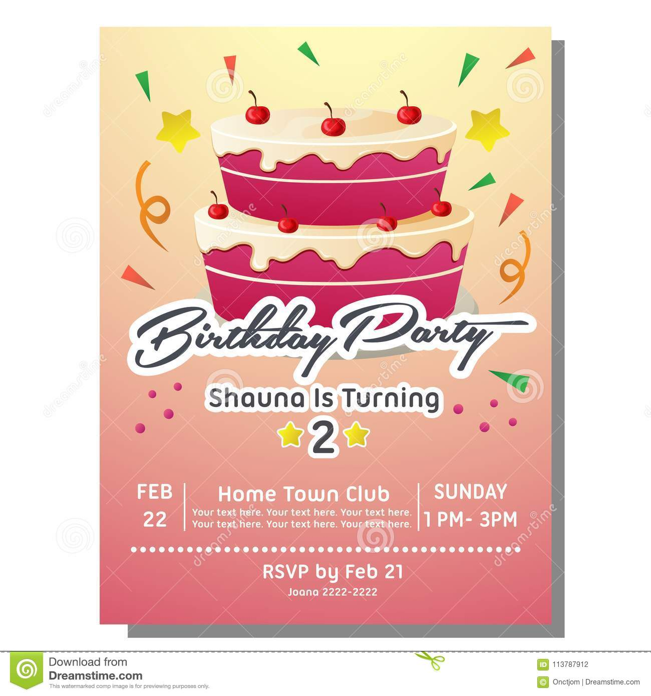 Birthday Party Invitation Card With Party Cake Stock Vector