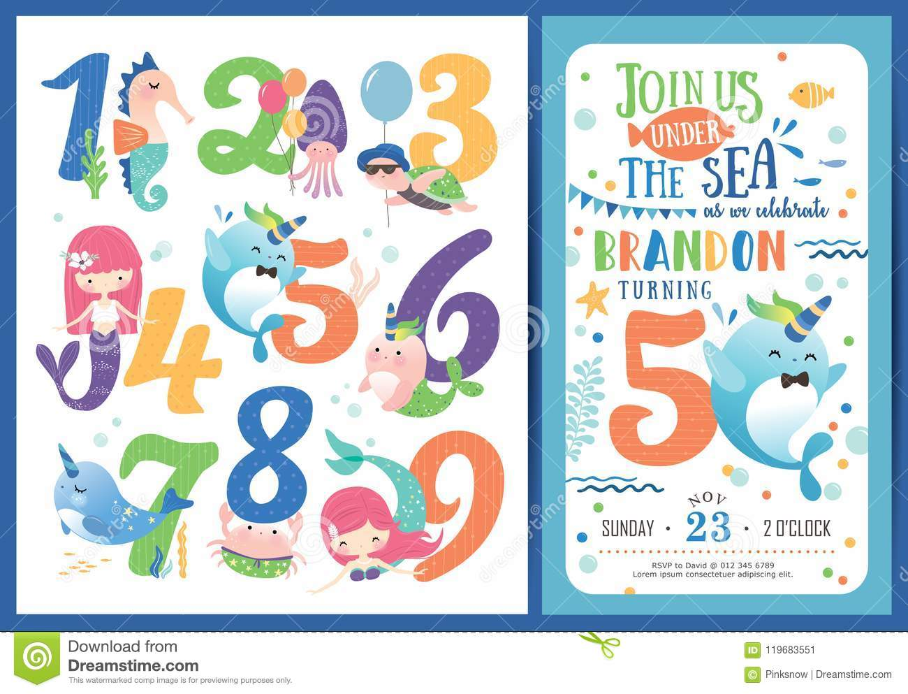Birthday Party Invitation Card Template Stock Vector