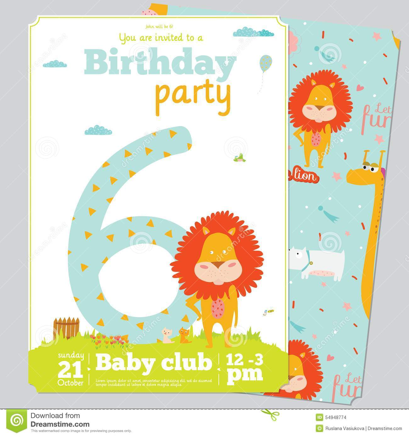 Birthday Party Invitation Card Template With Cute Stock