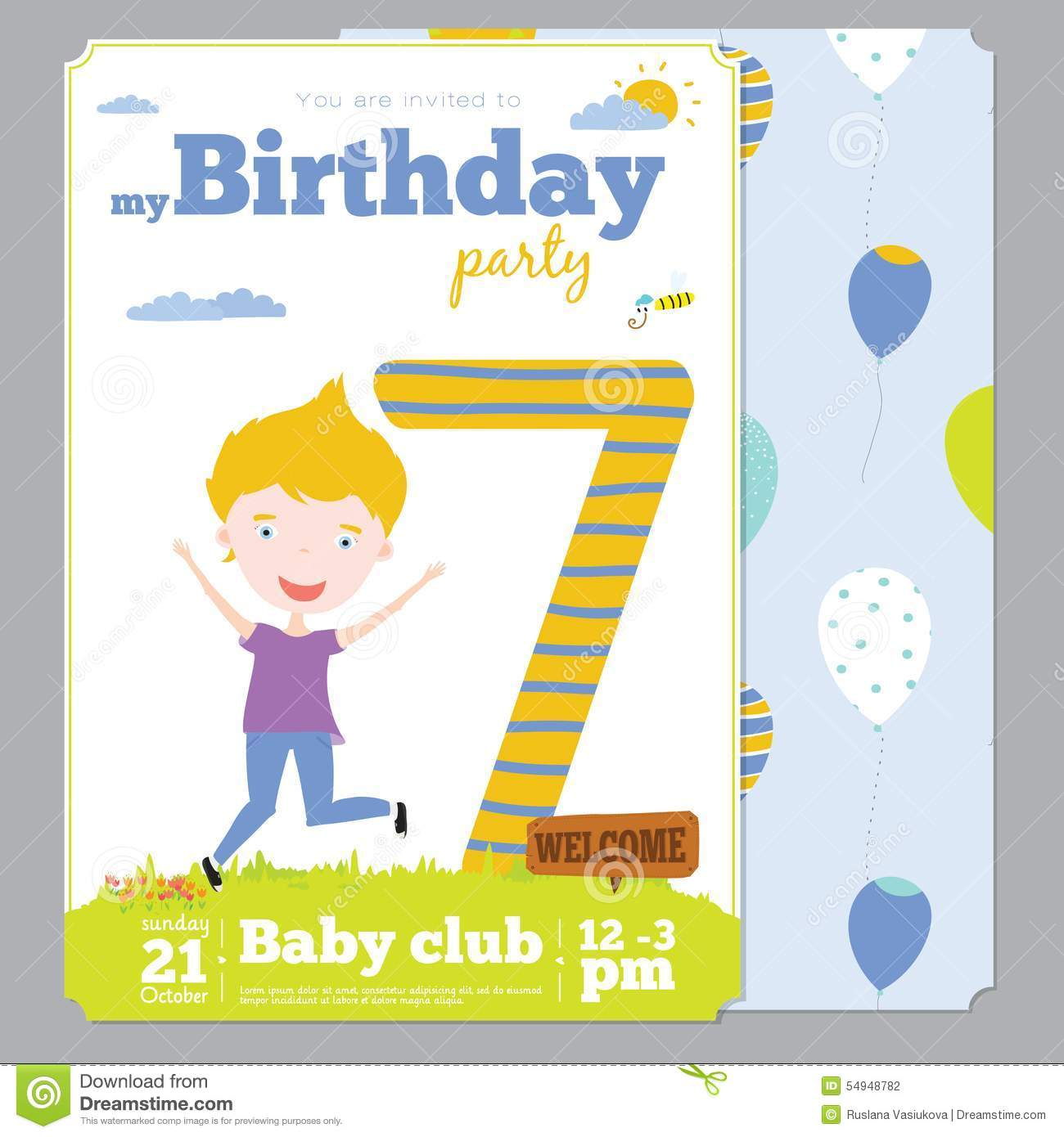 Birthday Party Invitation Card Template With Cute Vector – Birthday Party Card Template