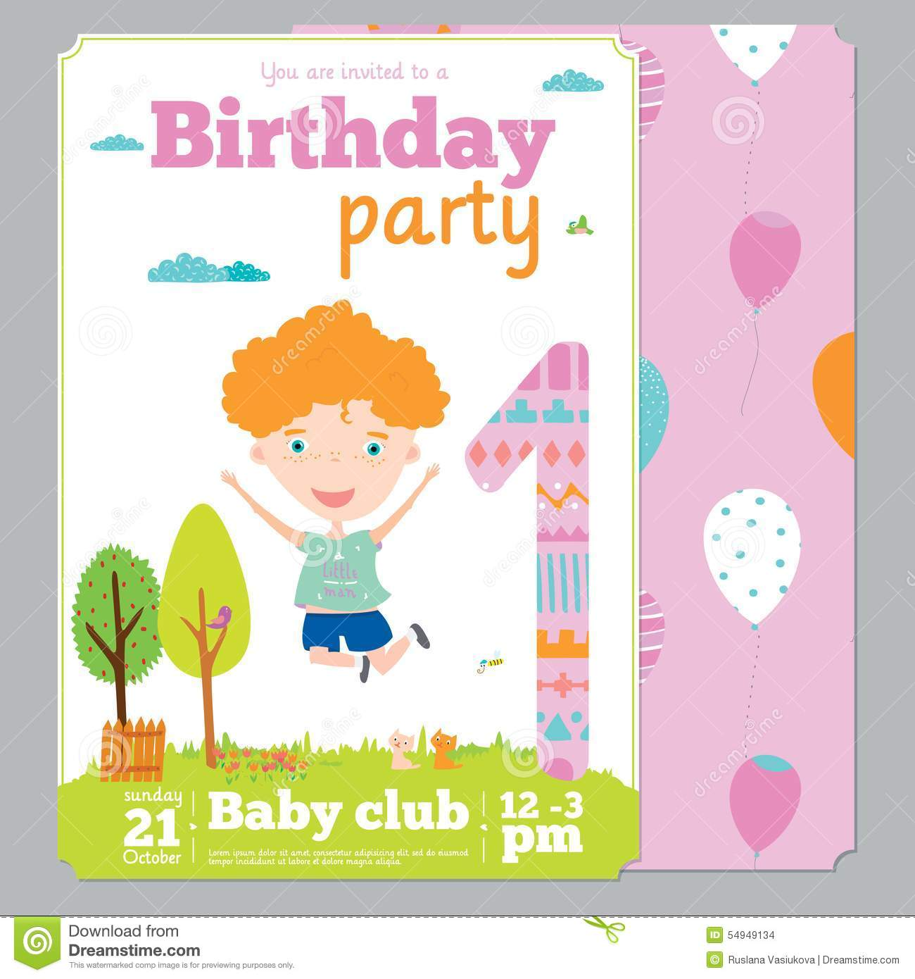 Birthday Anniversary Numbers With Cute Animals And Kids Party Invitation Card Template In Cartoon Style