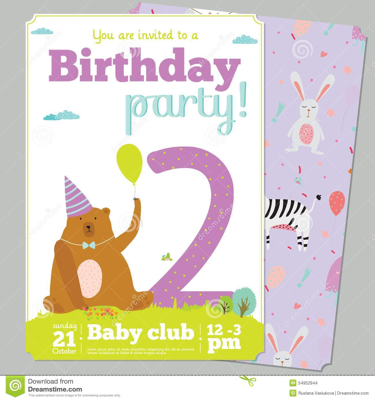 Birthday party invitation card template with cute stock vector birthday party invitation card template with cute cartoon cheerful stopboris Choice Image