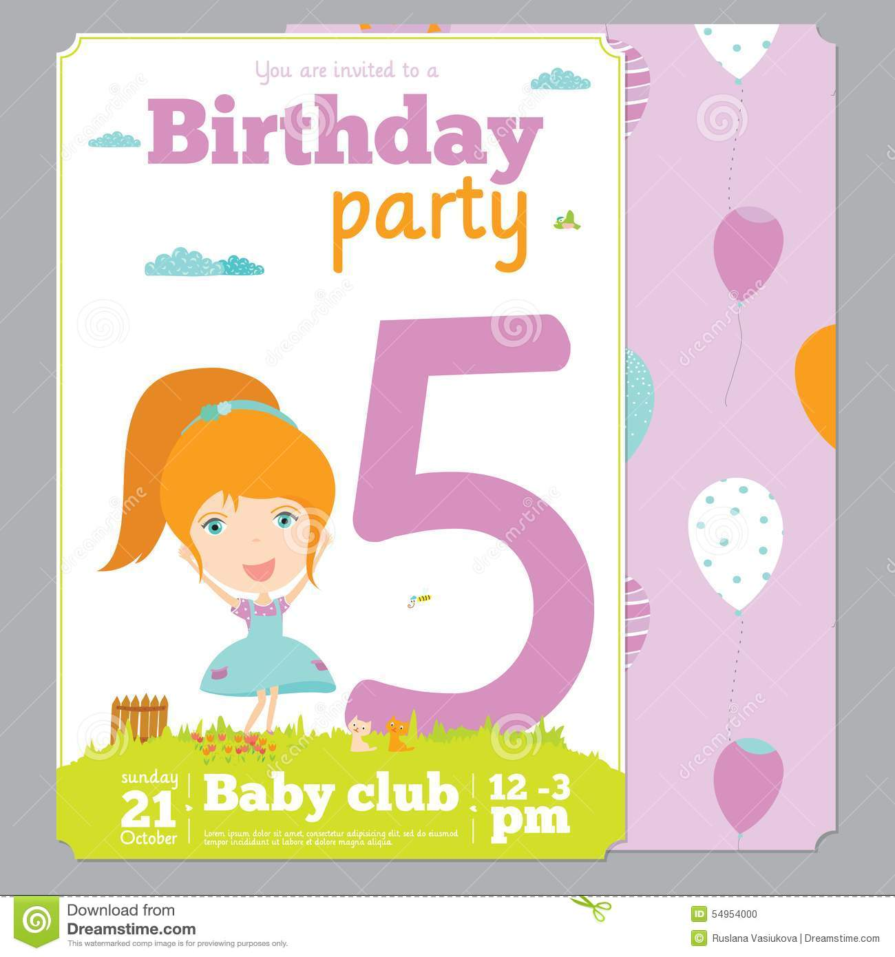Birthday Party Invitation Card Template With Cute Stock Vector - Image ...