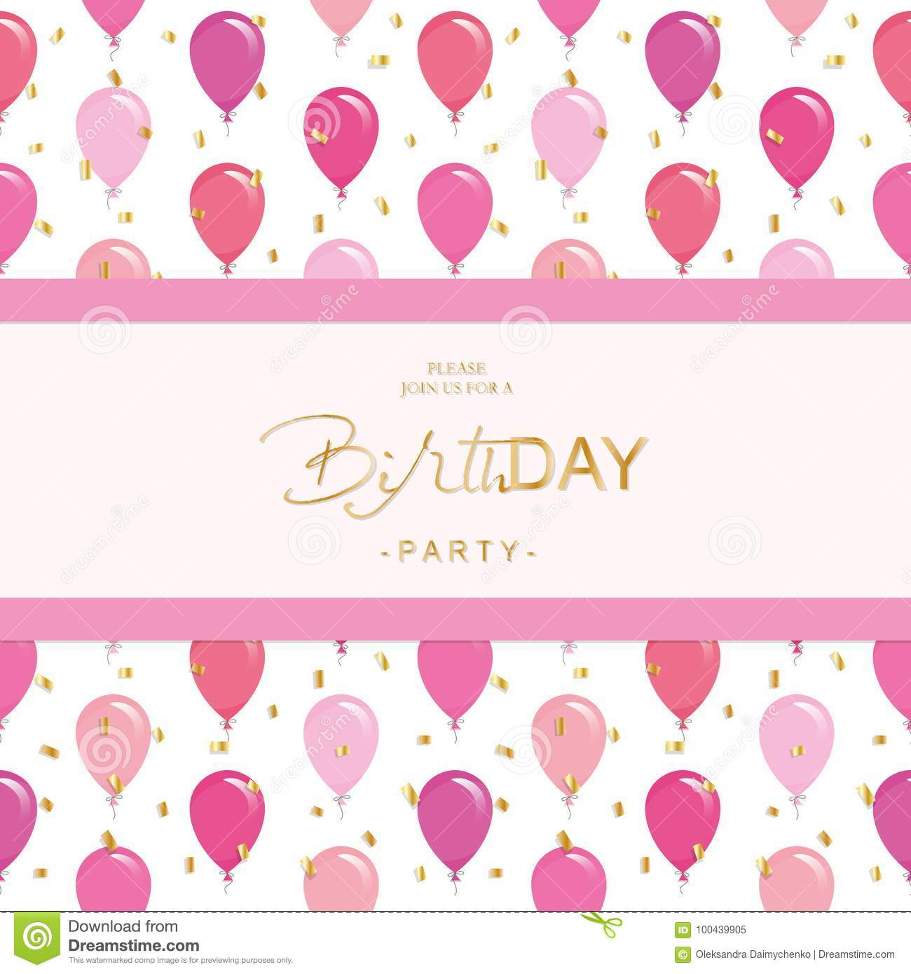 Birthday Party Invitation Card Template. Included Seamless Pattern ...