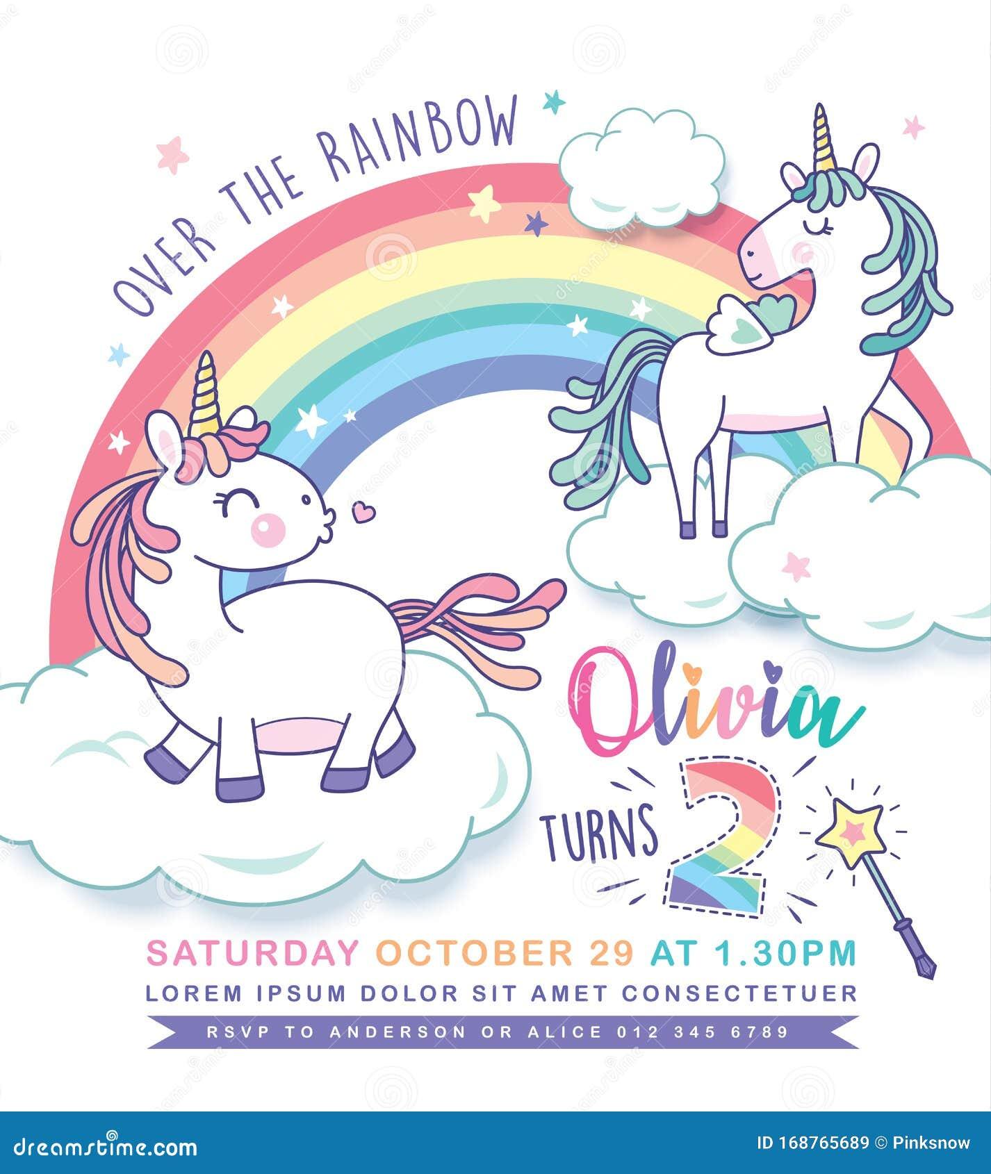 unicorn party invitation card stock vector  illustration