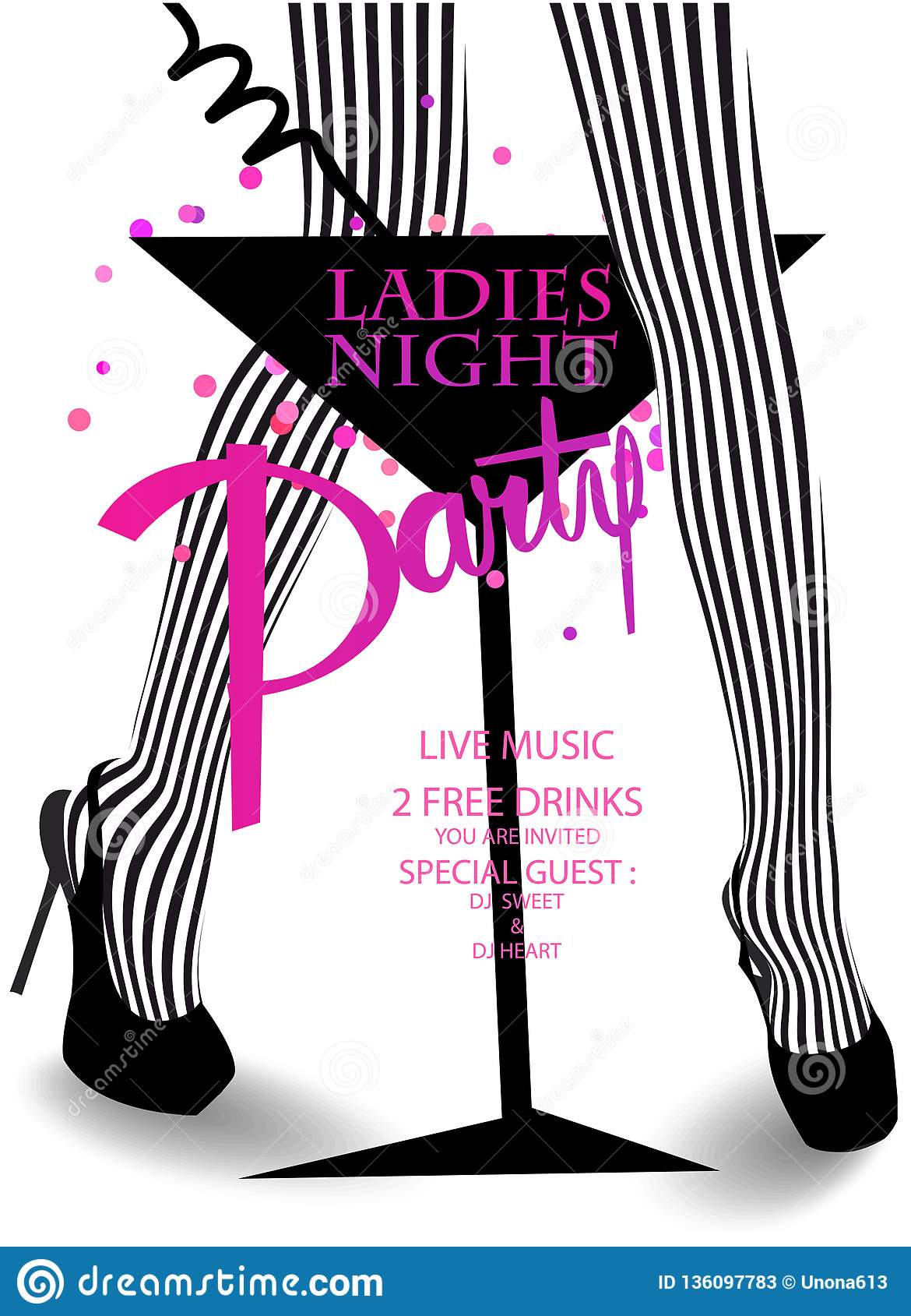 Ladies Night Party Invitation Card With Glass Of Cocktail