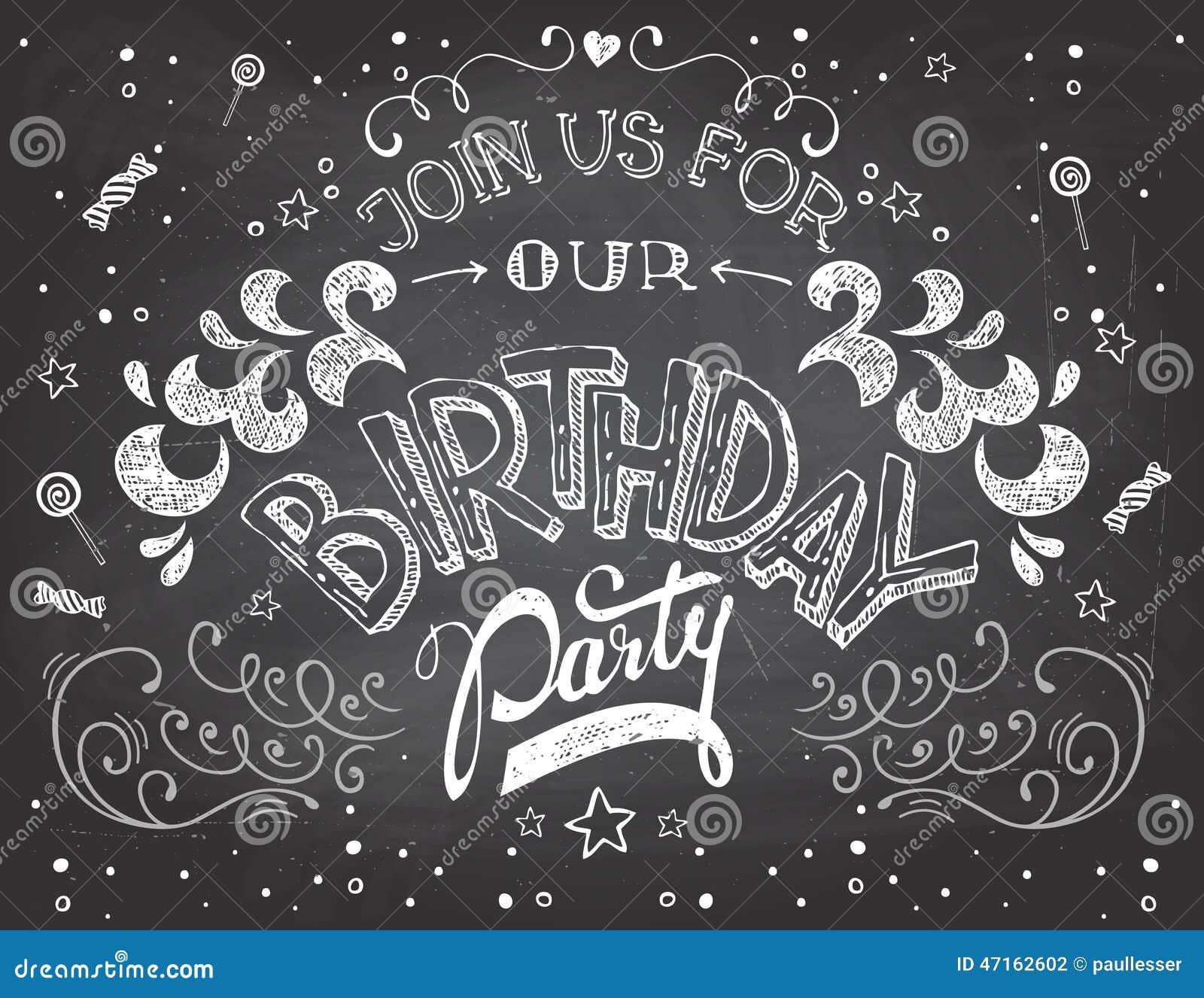Birthday Party Invitation On Chalkboard Stock Vector ...