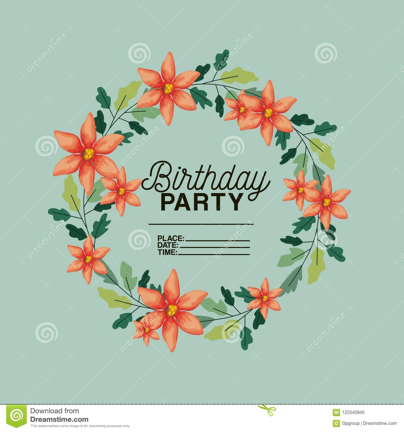 Birthday Party Invitation With Floral Crown Stock Vector