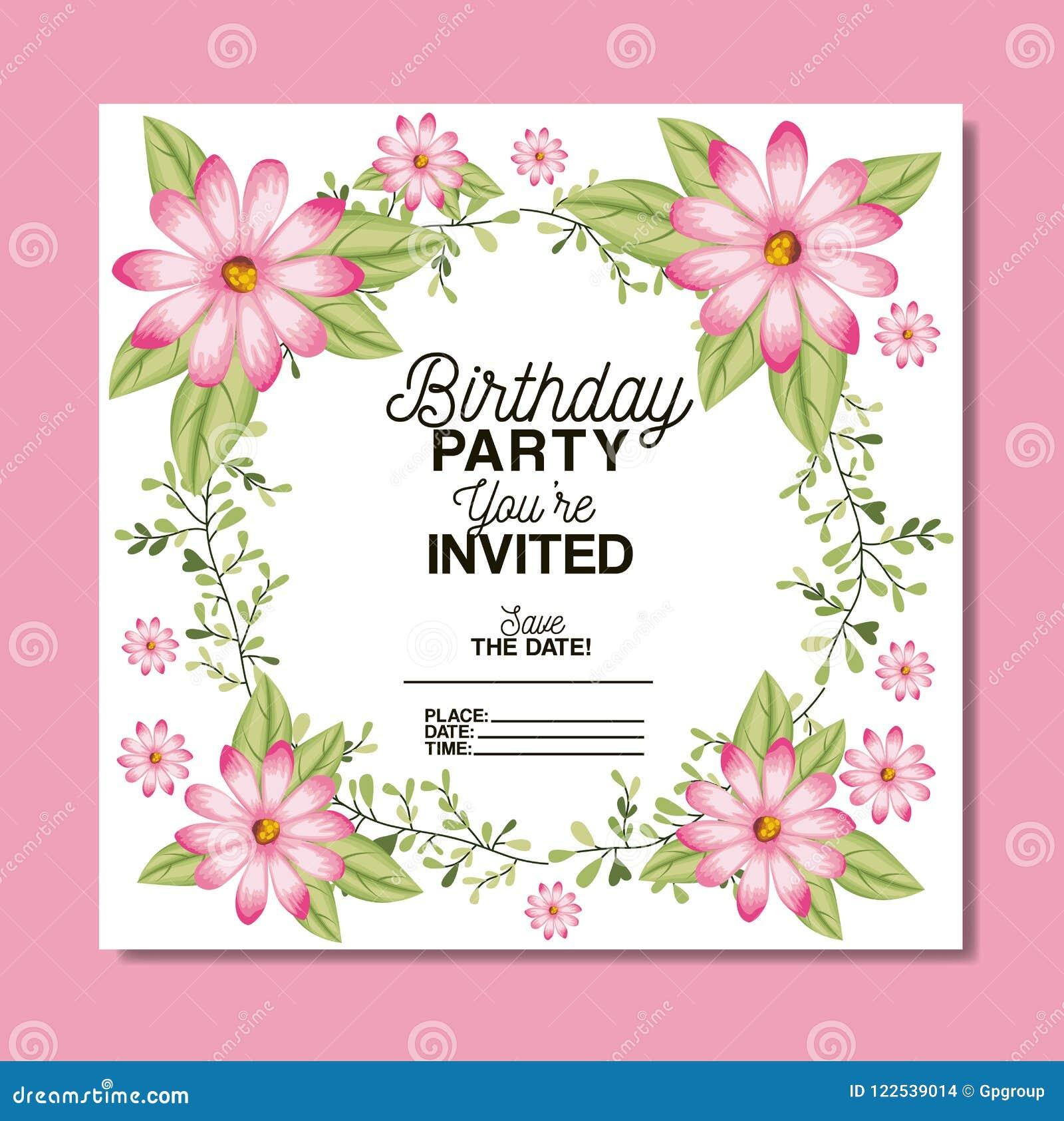 Birthday party invitation with floral decoration stock vector birthday party invitation with floral decoration izmirmasajfo