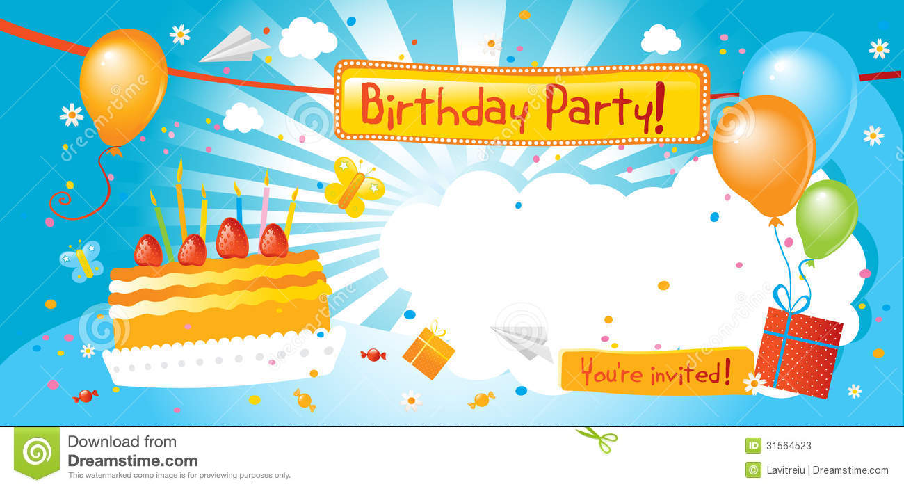 Birthday party invitation stock vector. Illustration of party - 31564523