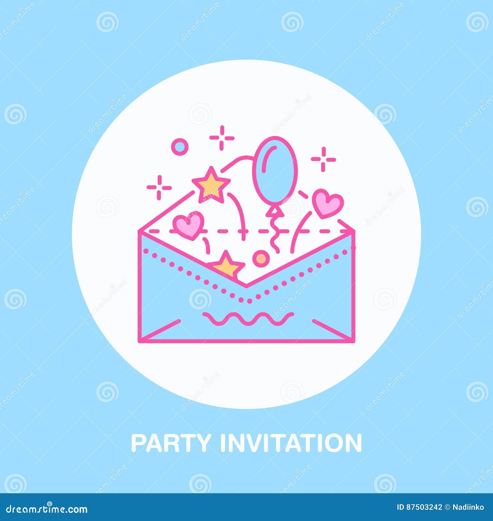 Birthday party invitation line icon vector logo for party service birthday party invitation line icon vector logo for party service or event agency linear illustration of wedding stock vector illustration of celebrate stopboris Images