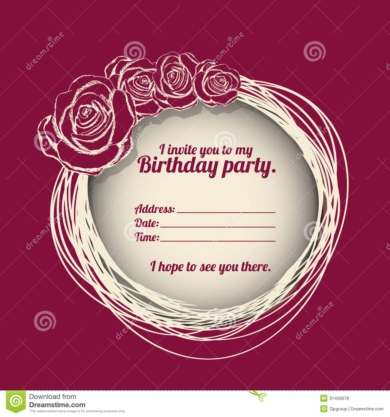 Birthday party invitation stock vector Illustration of bloom 31450678