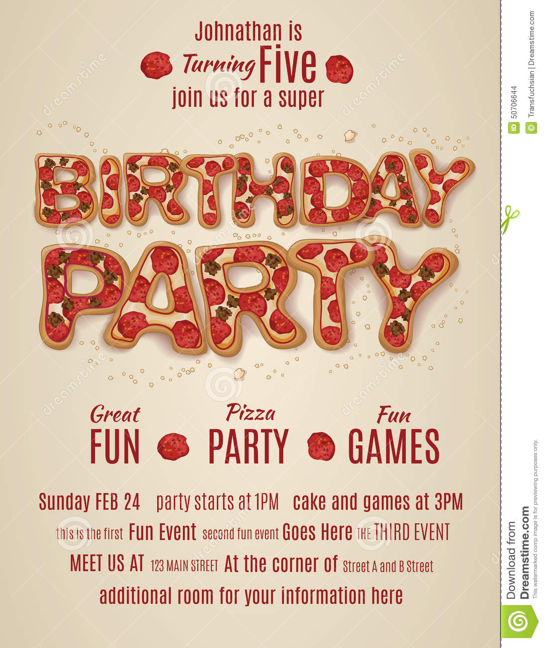 Birthday Party Invitation Template With Pizza Letters Stock Vector ...