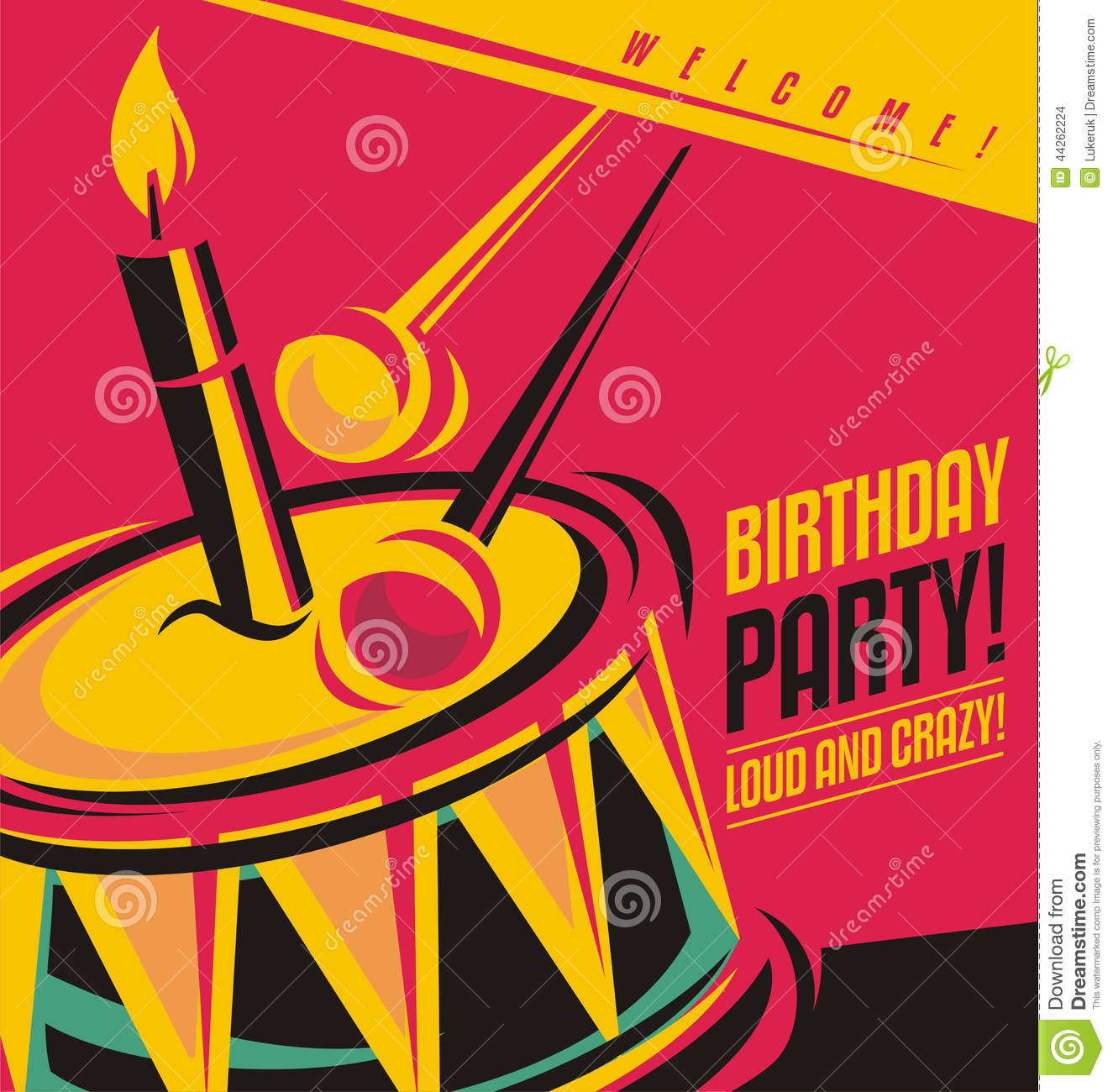 Birthday Party Invitation Template Stock Vector - Image ...