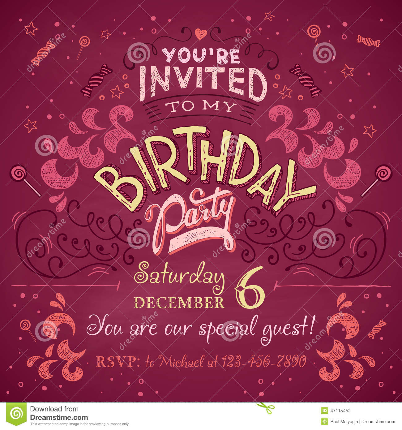 Birthday party invitation stock vector. Illustration of celebrate ...