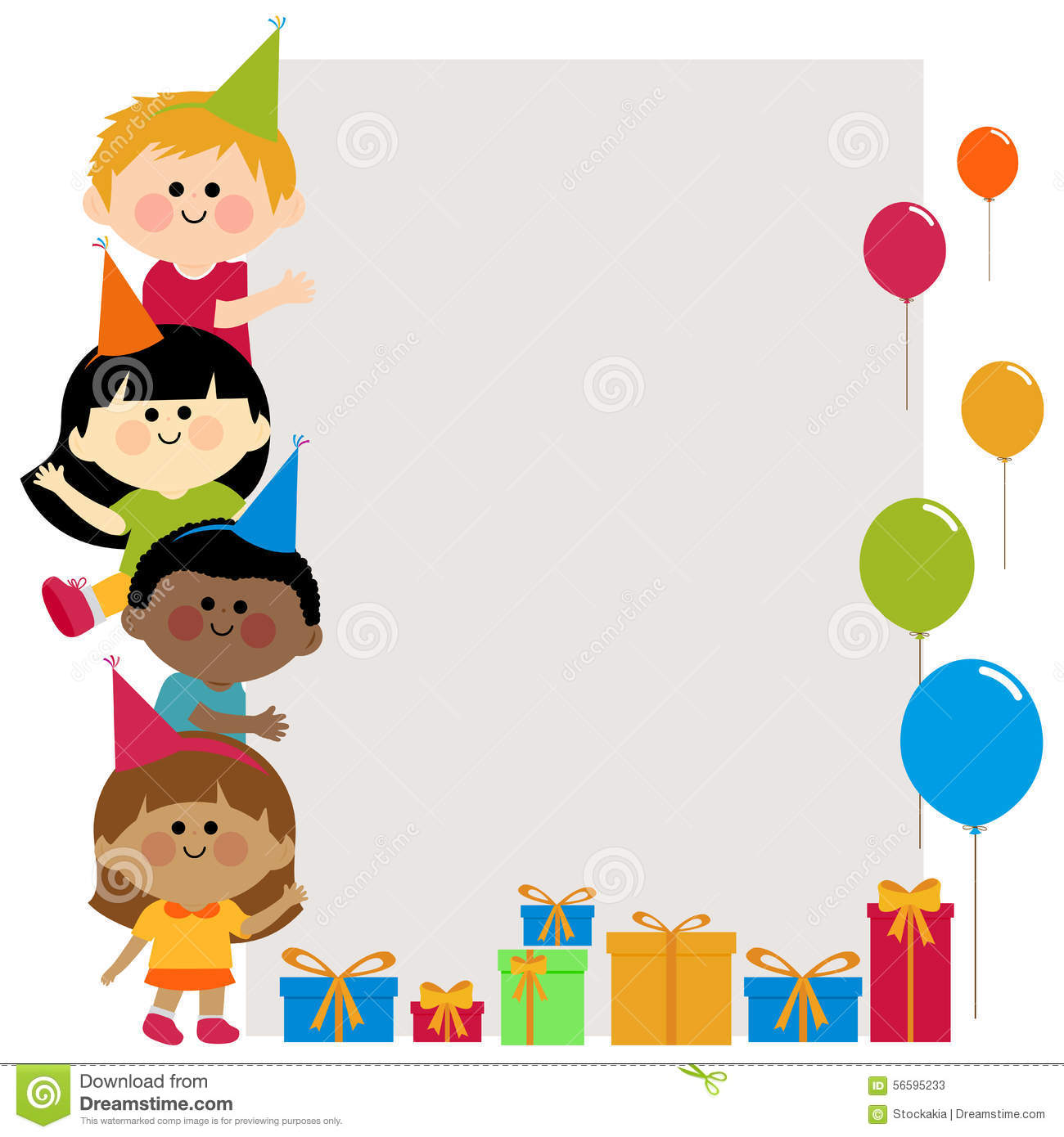 A Happy Multicultural Group Of Birthday Party Children With Hats Holding Blank Vertical Banner And Boxes Presents Balloons