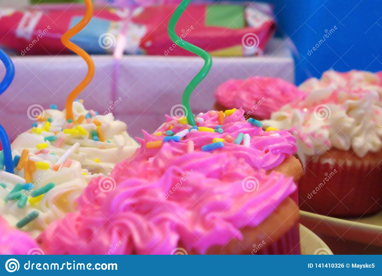 Birthday Party Pink and White Cupcakes