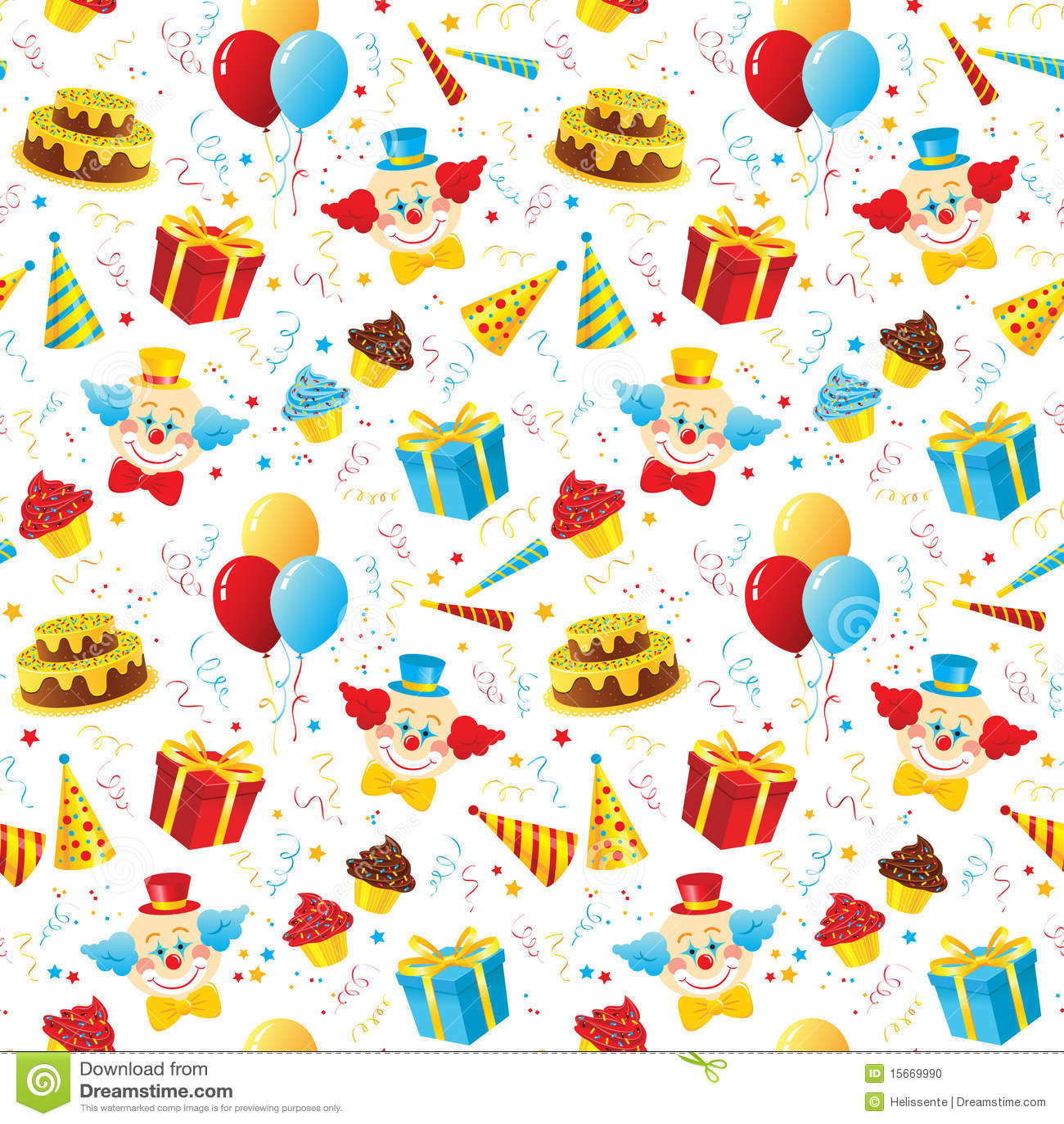 Birthday Party Seamless Pattern Stock Photo - Image: 15669990