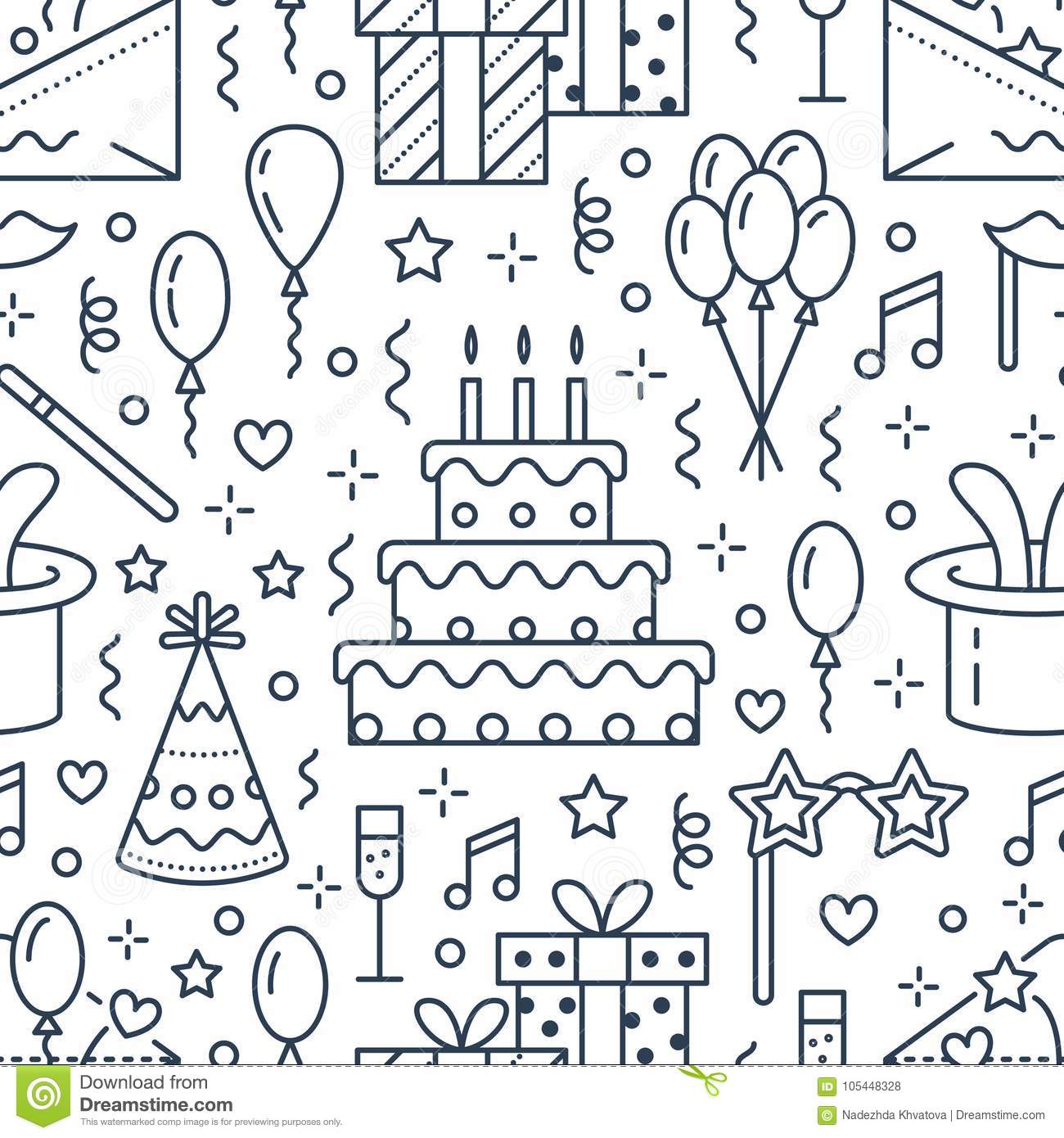 Birthday party seamless pattern, flat line illustration. Vector icons of event agency, wedding organization - cake