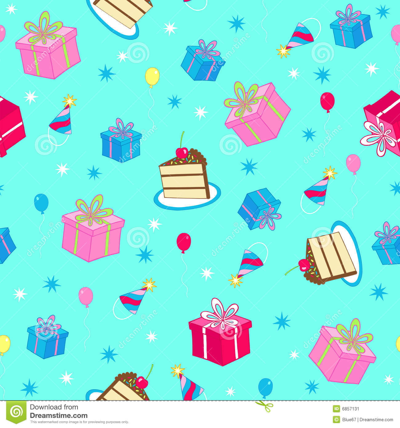 Birthday Party Seamless Repeat Pattern Vector Stock Image - Image ...